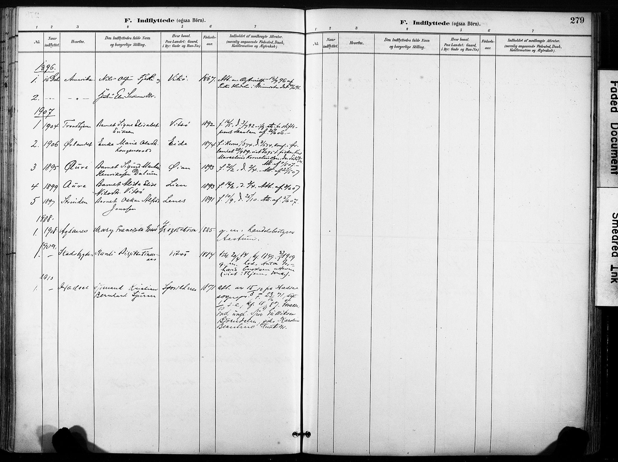 SAT, Ministerialprotokoller, klokkerbøker og fødselsregistre - Sør-Trøndelag, 630/L0497: Ministerialbok nr. 630A10, 1896-1910, s. 279