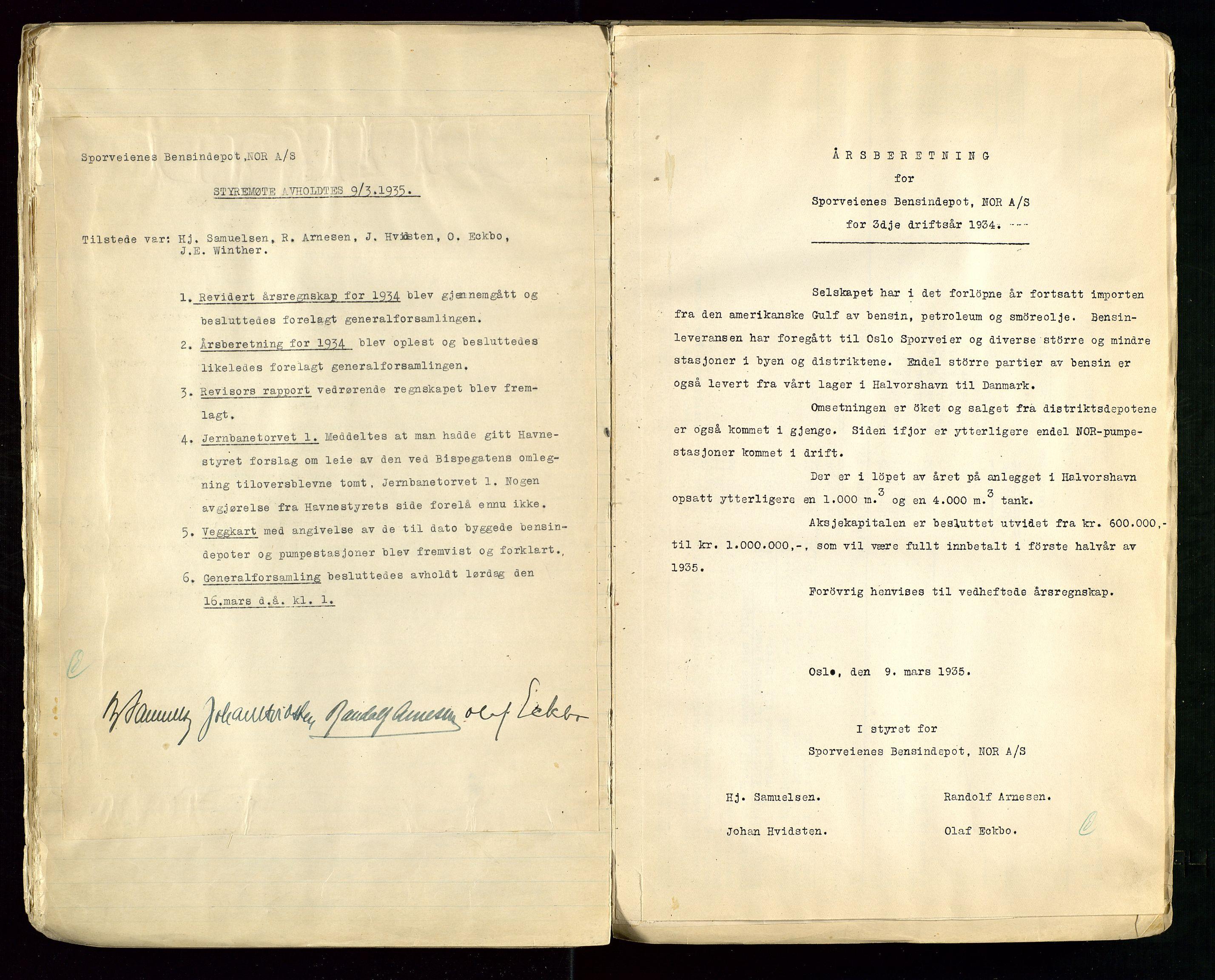 SAST, PA 1514 - Sporveienes Bensindepot, Norsk Oljeraffineri A/S, A/L0001: Styreprotokoll. Forhandlingsprotokoll Arbeidsutvaget, 1932-1949, s. 23
