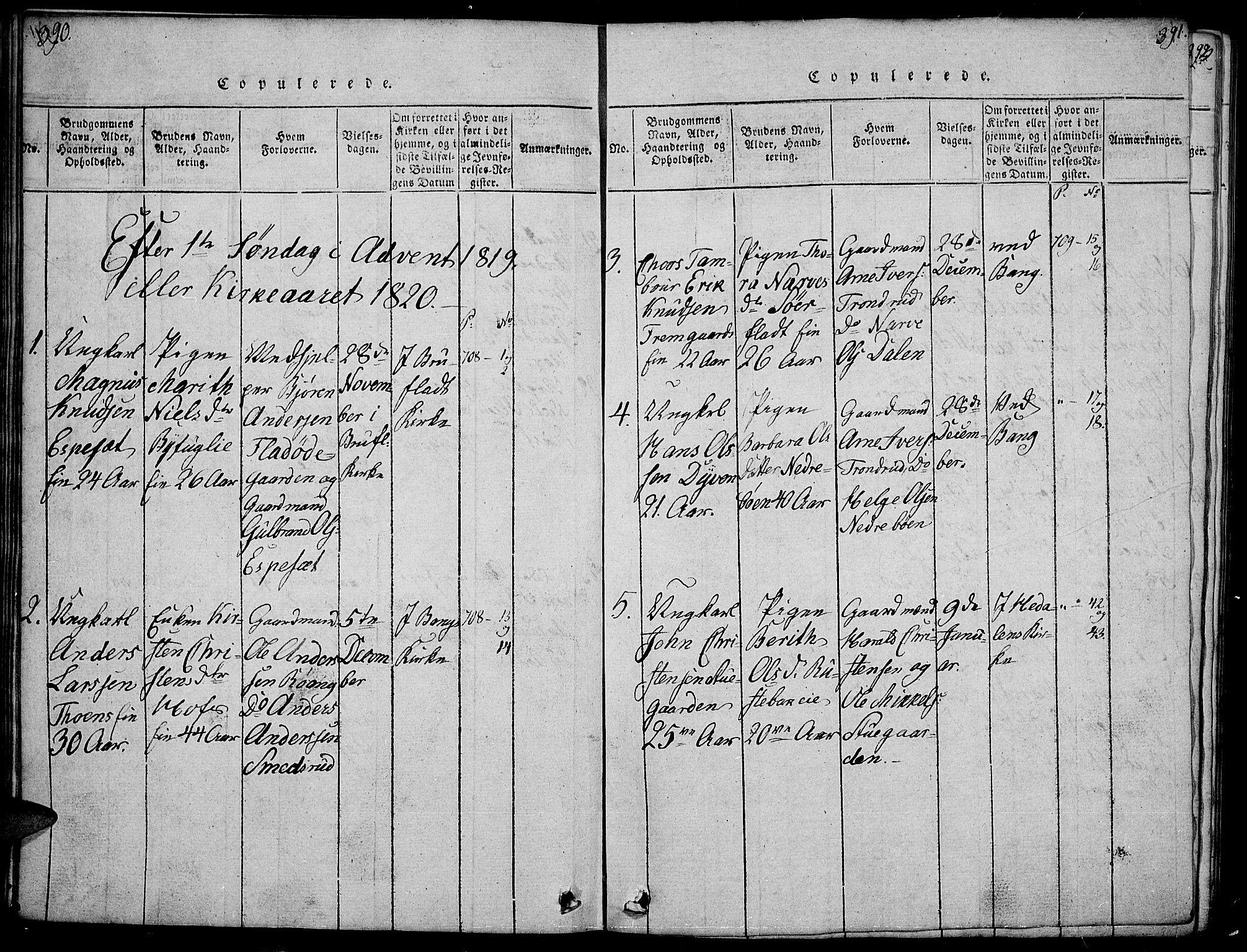 SAH, Sør-Aurdal prestekontor, Klokkerbok nr. 1, 1815-1826, s. 390-391