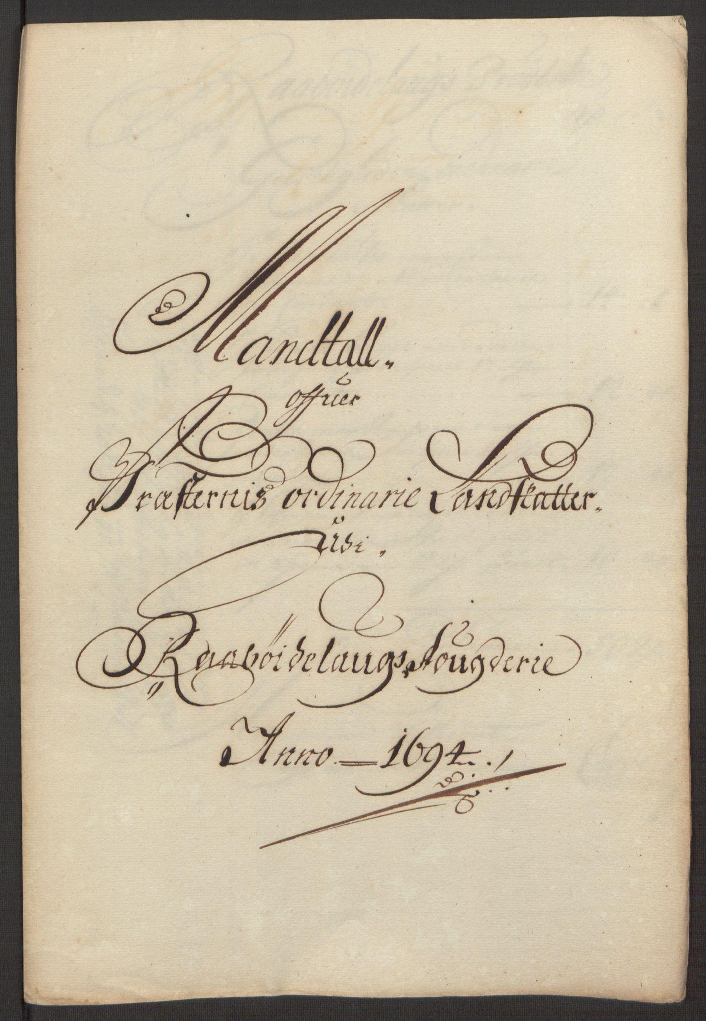 RA, Rentekammeret inntil 1814, Reviderte regnskaper, Fogderegnskap, R40/L2444: Fogderegnskap Råbyggelag, 1693-1696, s. 124