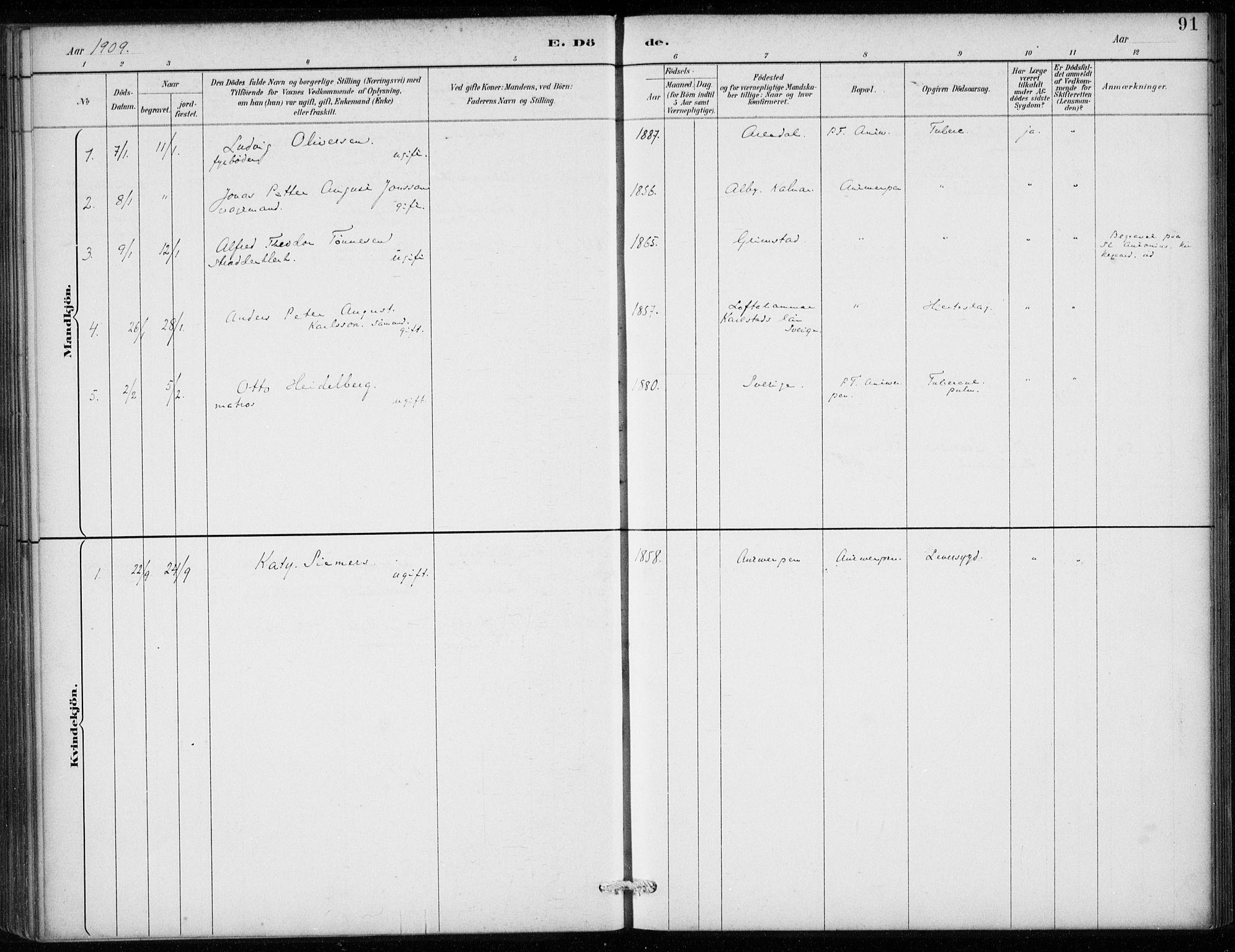 SAB, Den Norske Sjømannsmisjon i utlandet*, Ministerialbok nr. A 2, 1887-1913, s. 91