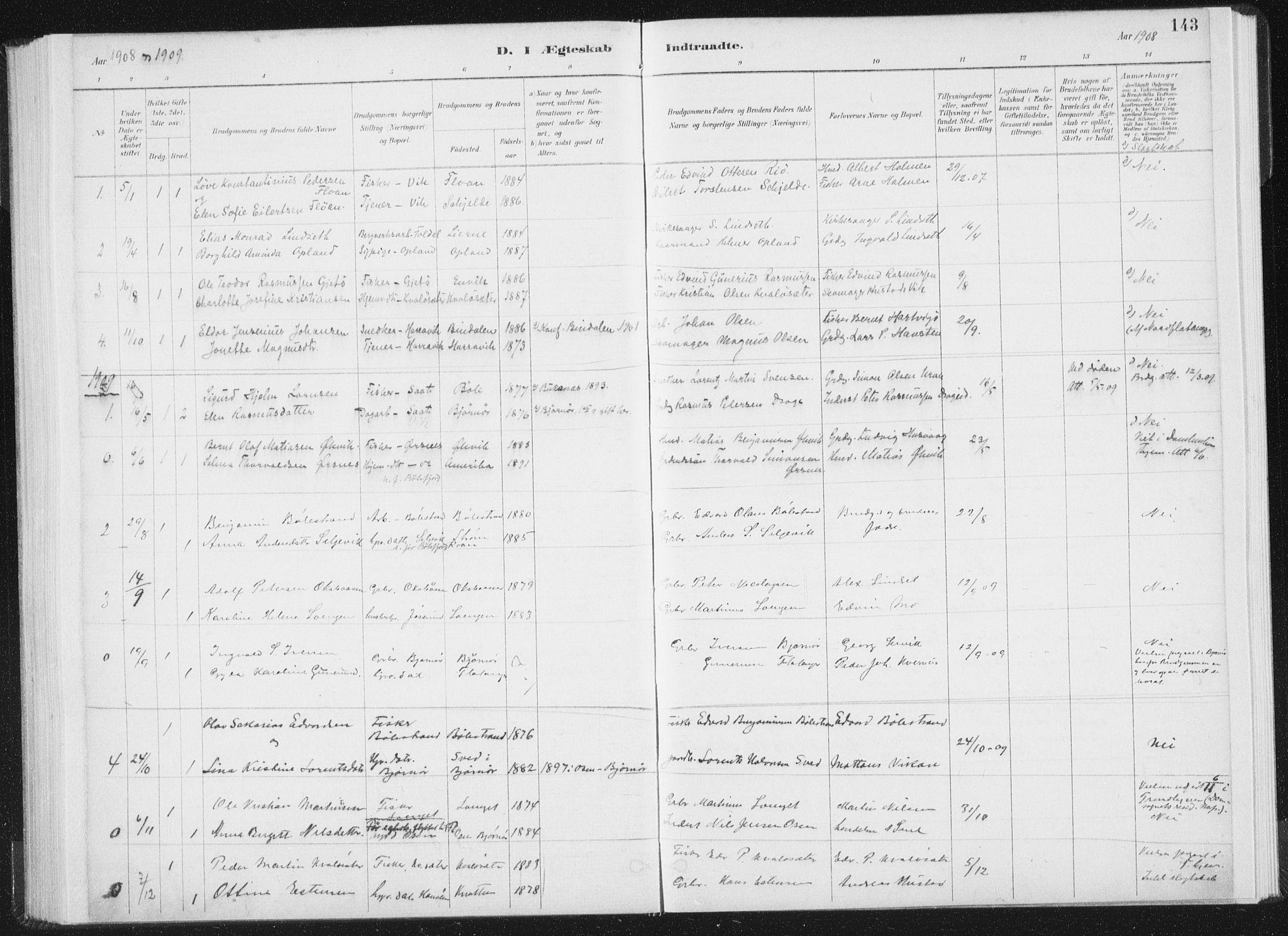 SAT, Ministerialprotokoller, klokkerbøker og fødselsregistre - Nord-Trøndelag, 771/L0597: Ministerialbok nr. 771A04, 1885-1910, s. 143