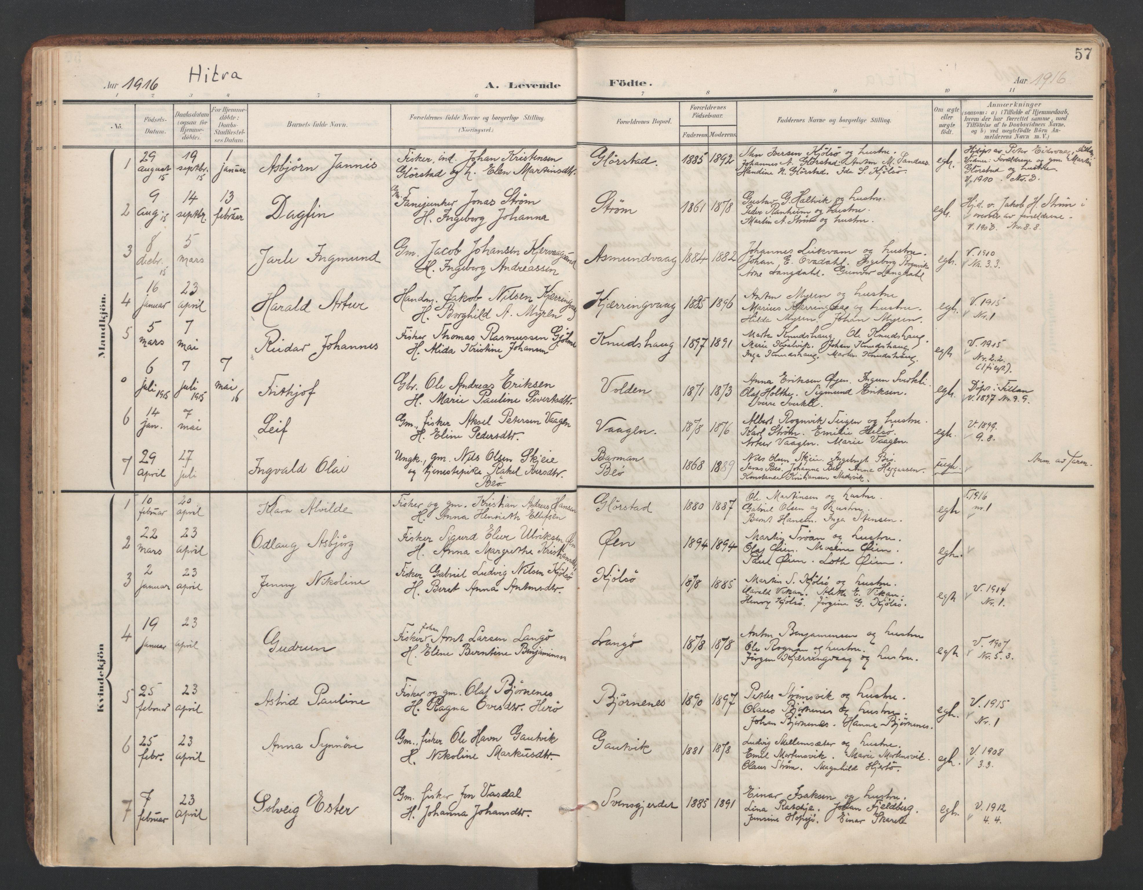 SAT, Ministerialprotokoller, klokkerbøker og fødselsregistre - Sør-Trøndelag, 634/L0537: Ministerialbok nr. 634A13, 1896-1922, s. 57