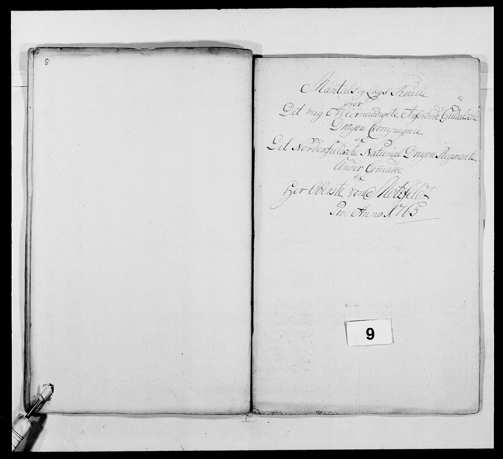 RA, Kommanderende general (KG I) med Det norske krigsdirektorium, E/Ea/L0483: Nordafjelske dragonregiment, 1765-1767, s. 194