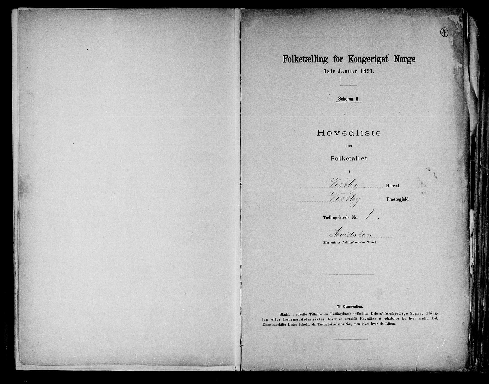 RA, Folketelling 1891 for 0211 Vestby herred, 1891, s. 4
