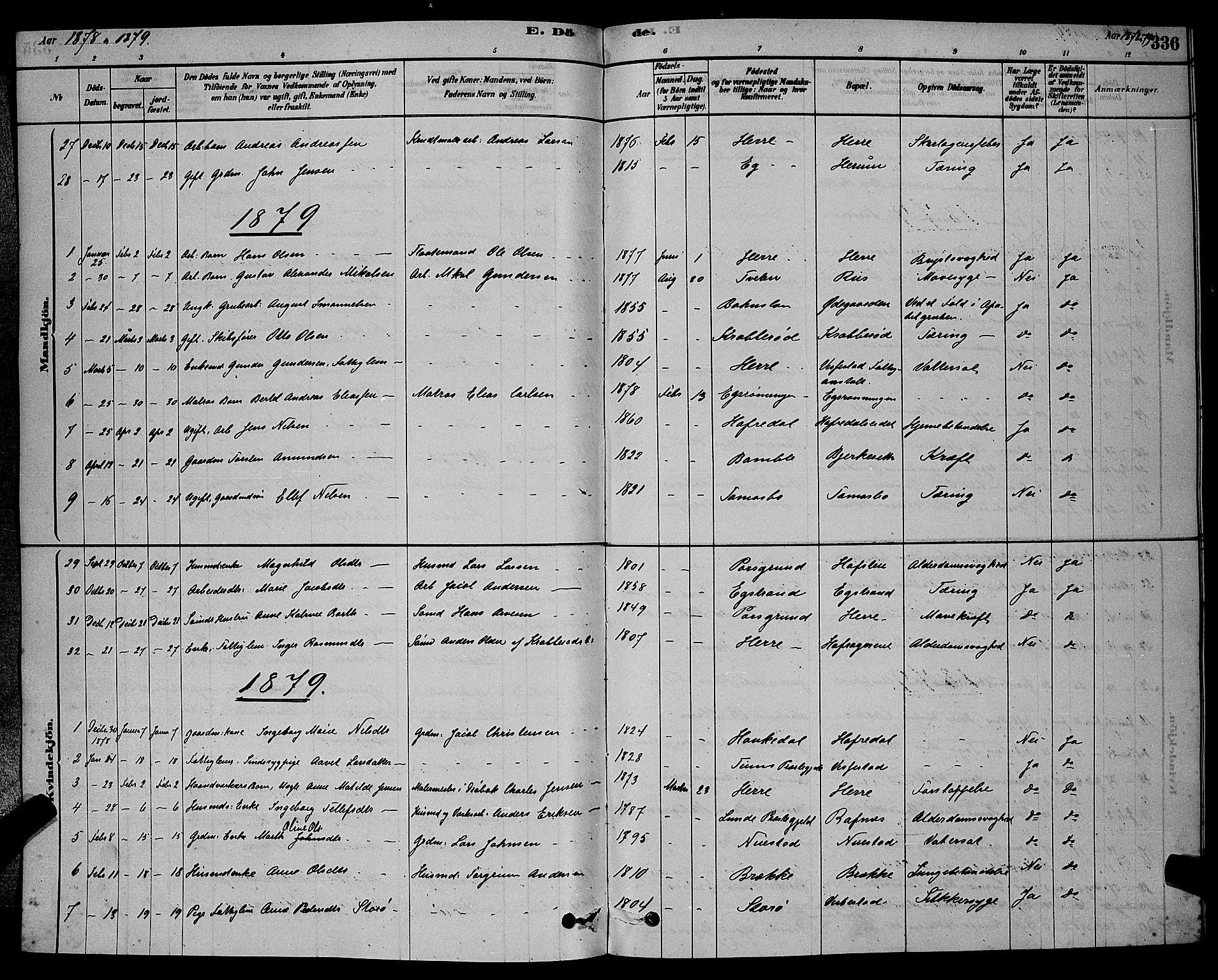 SAKO, Bamble kirkebøker, G/Ga/L0008: Klokkerbok nr. I 8, 1878-1888, s. 336