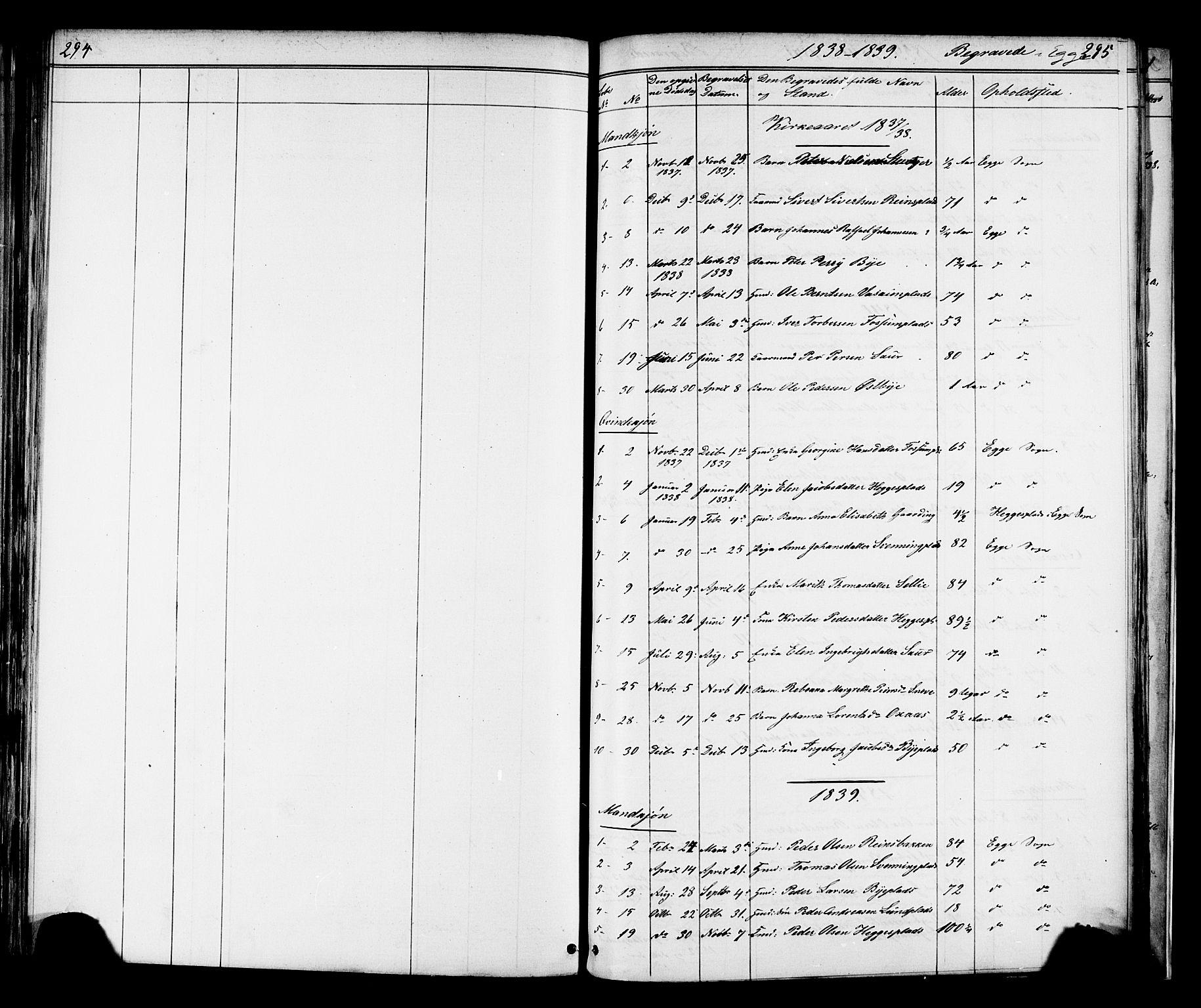 SAT, Ministerialprotokoller, klokkerbøker og fødselsregistre - Nord-Trøndelag, 739/L0367: Ministerialbok nr. 739A01 /3, 1838-1868, s. 294-295
