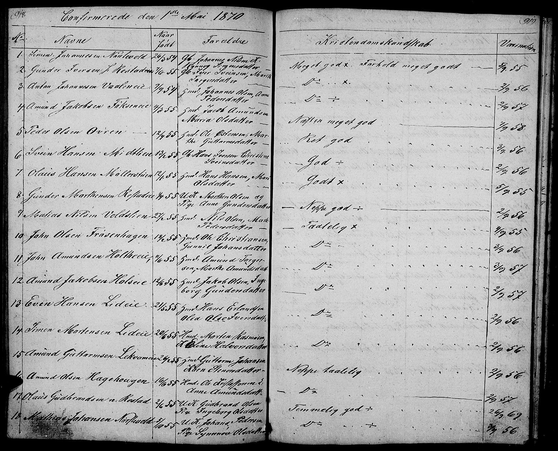 SAH, Gausdal prestekontor, Klokkerbok nr. 4, 1835-1870, s. 918-919