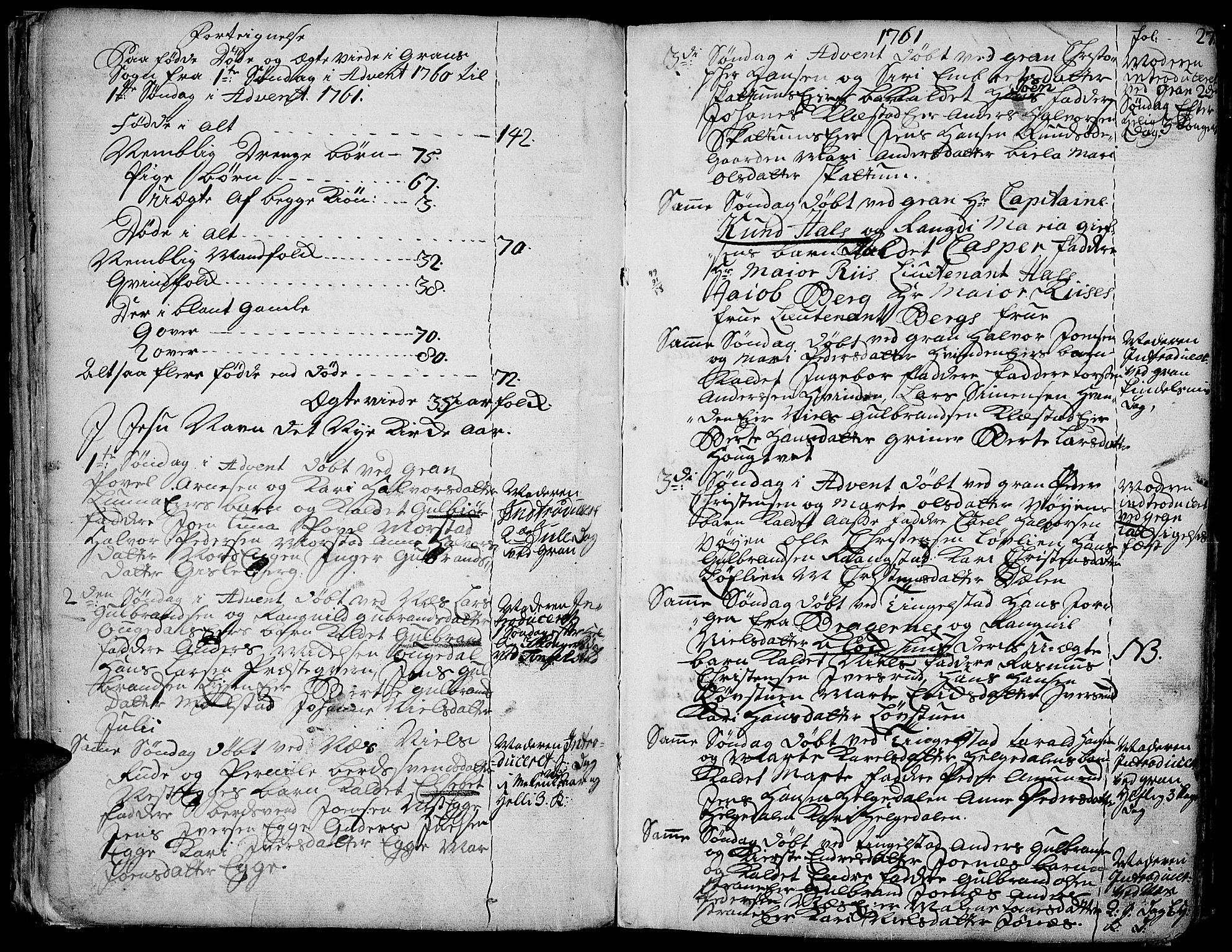 SAH, Gran prestekontor, Ministerialbok nr. 4, 1759-1775, s. 27