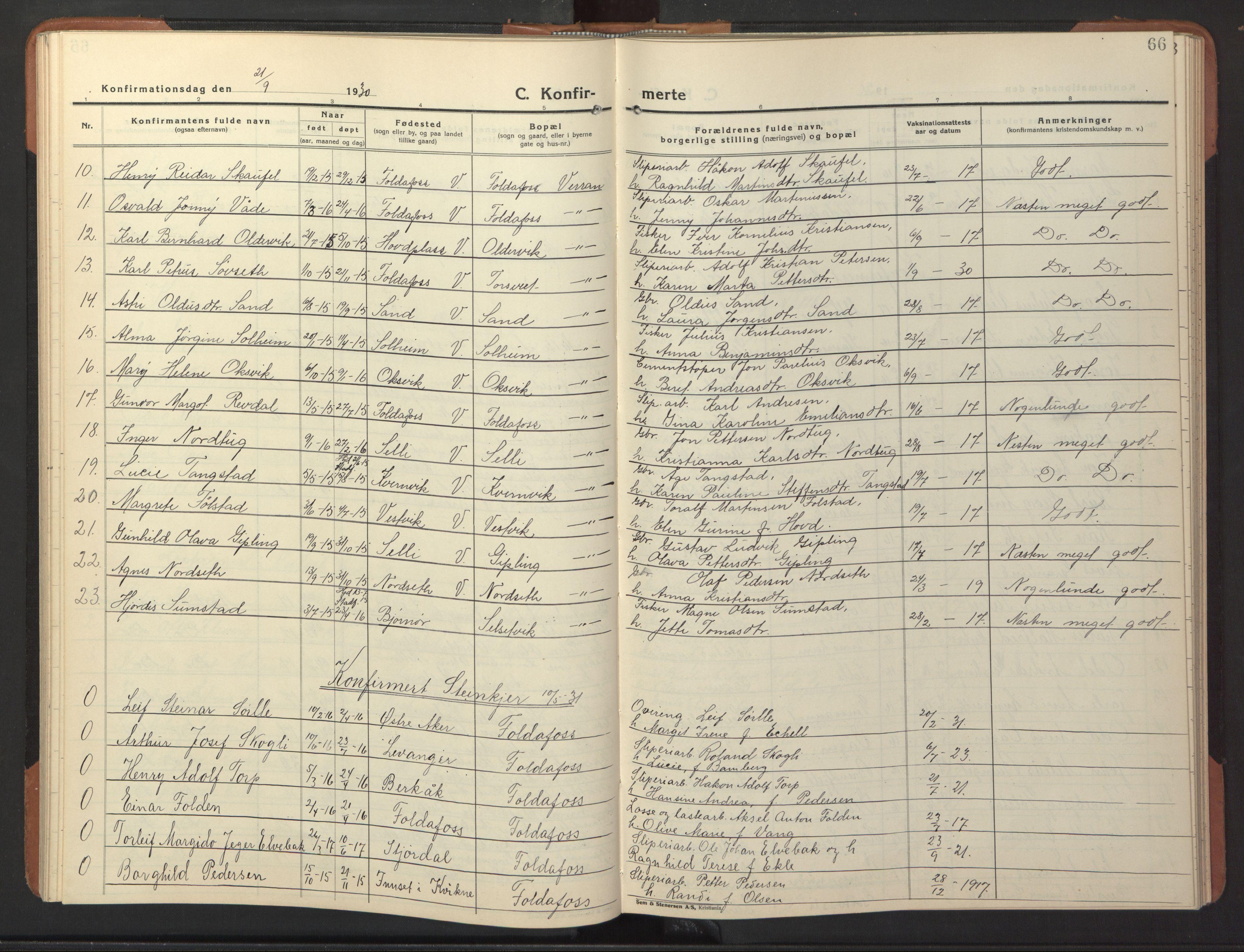 SAT, Ministerialprotokoller, klokkerbøker og fødselsregistre - Nord-Trøndelag, 744/L0425: Klokkerbok nr. 744C04, 1924-1947, s. 66