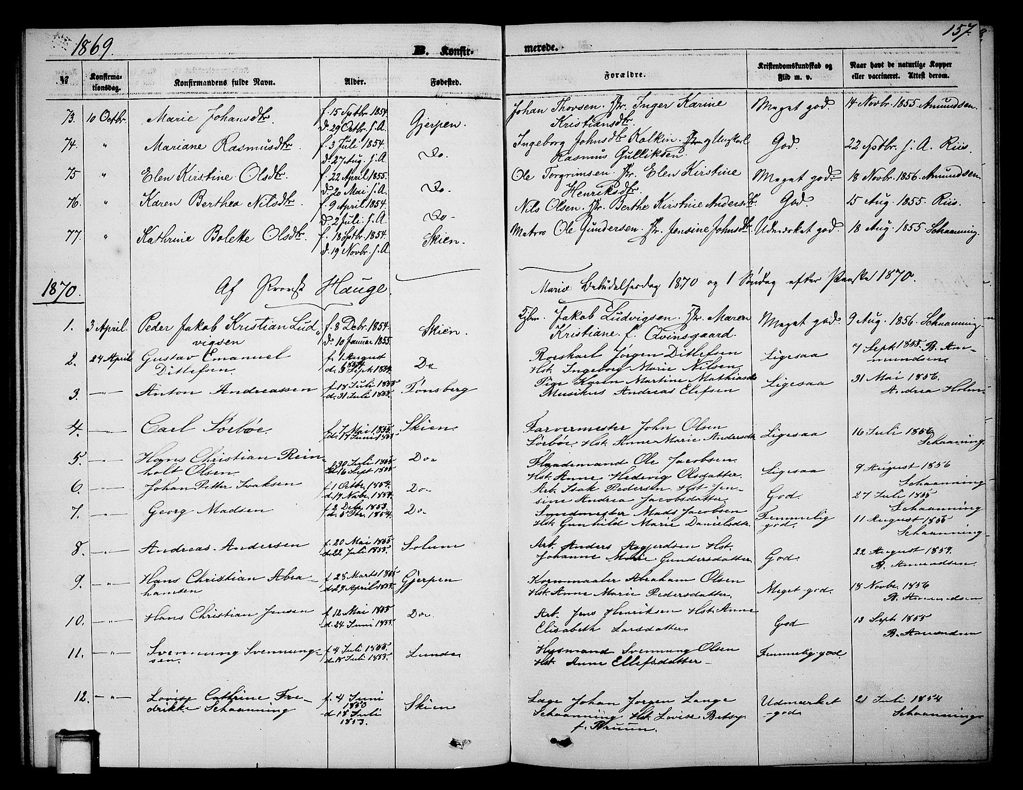 SAKO, Skien kirkebøker, G/Ga/L0005: Klokkerbok nr. 5, 1868-1880, s. 157