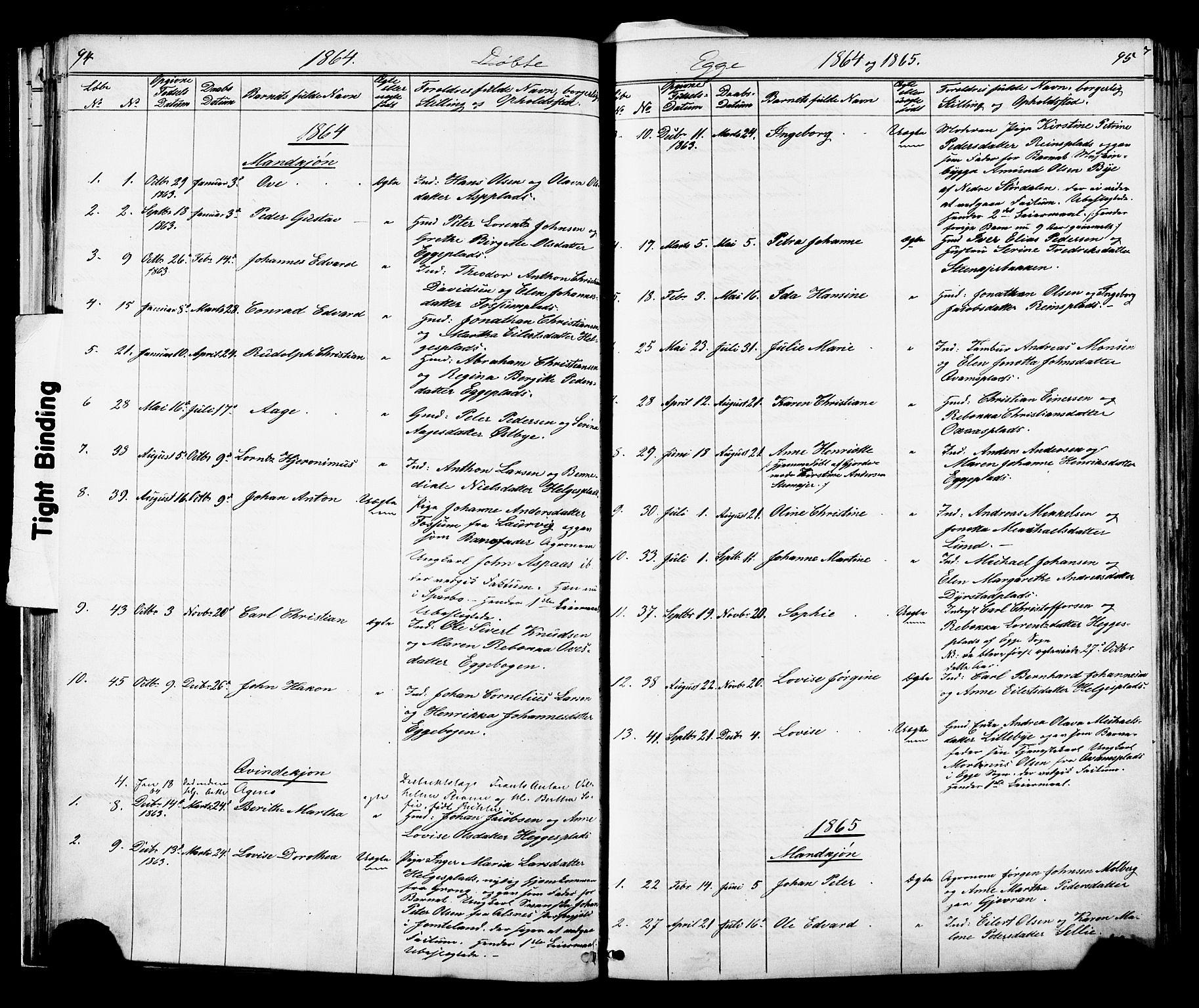 SAT, Ministerialprotokoller, klokkerbøker og fødselsregistre - Nord-Trøndelag, 739/L0367: Ministerialbok nr. 739A01 /3, 1838-1868, s. 94-95