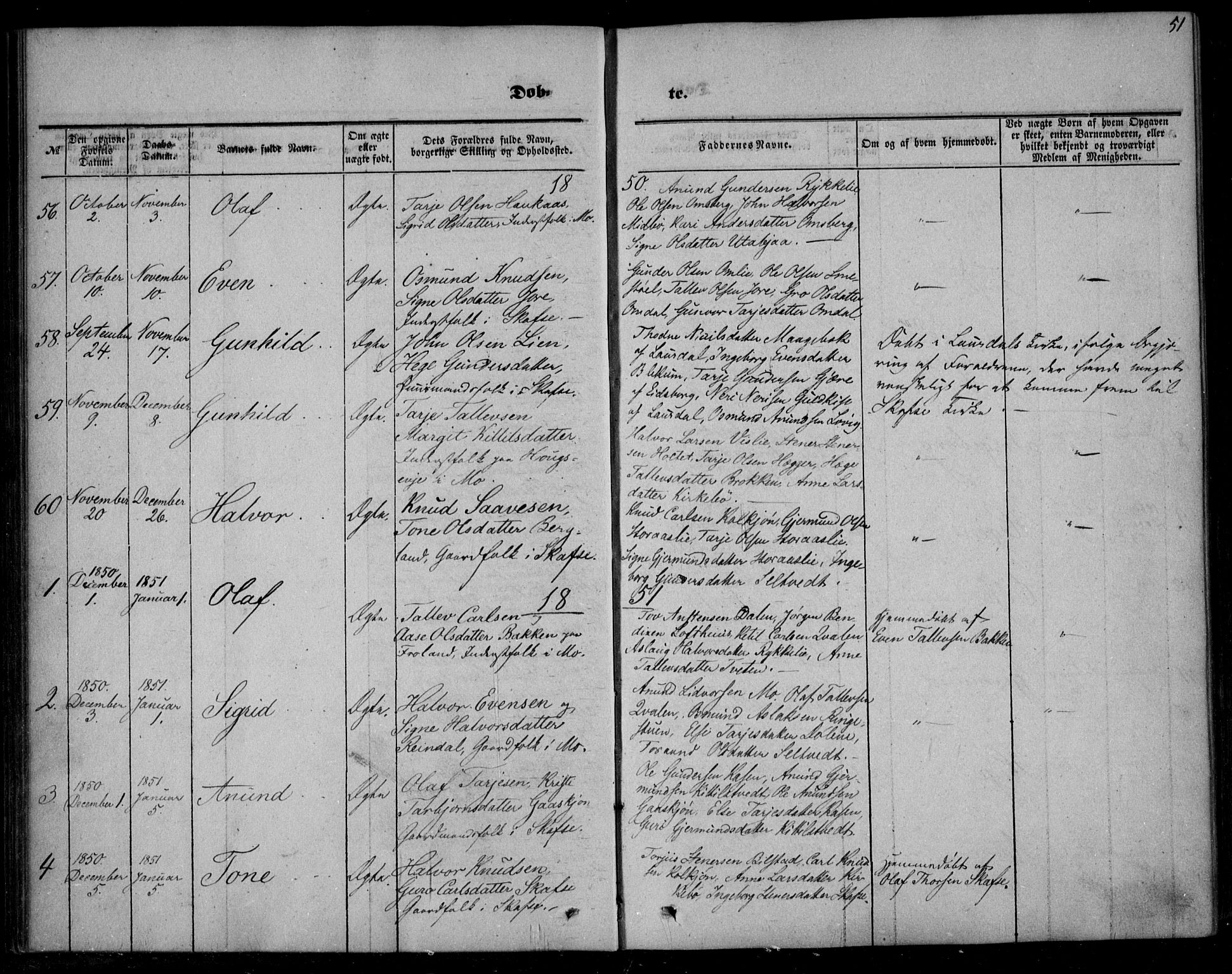 SAKO, Mo kirkebøker, F/Fa/L0005: Ministerialbok nr. I 5, 1844-1864, s. 51