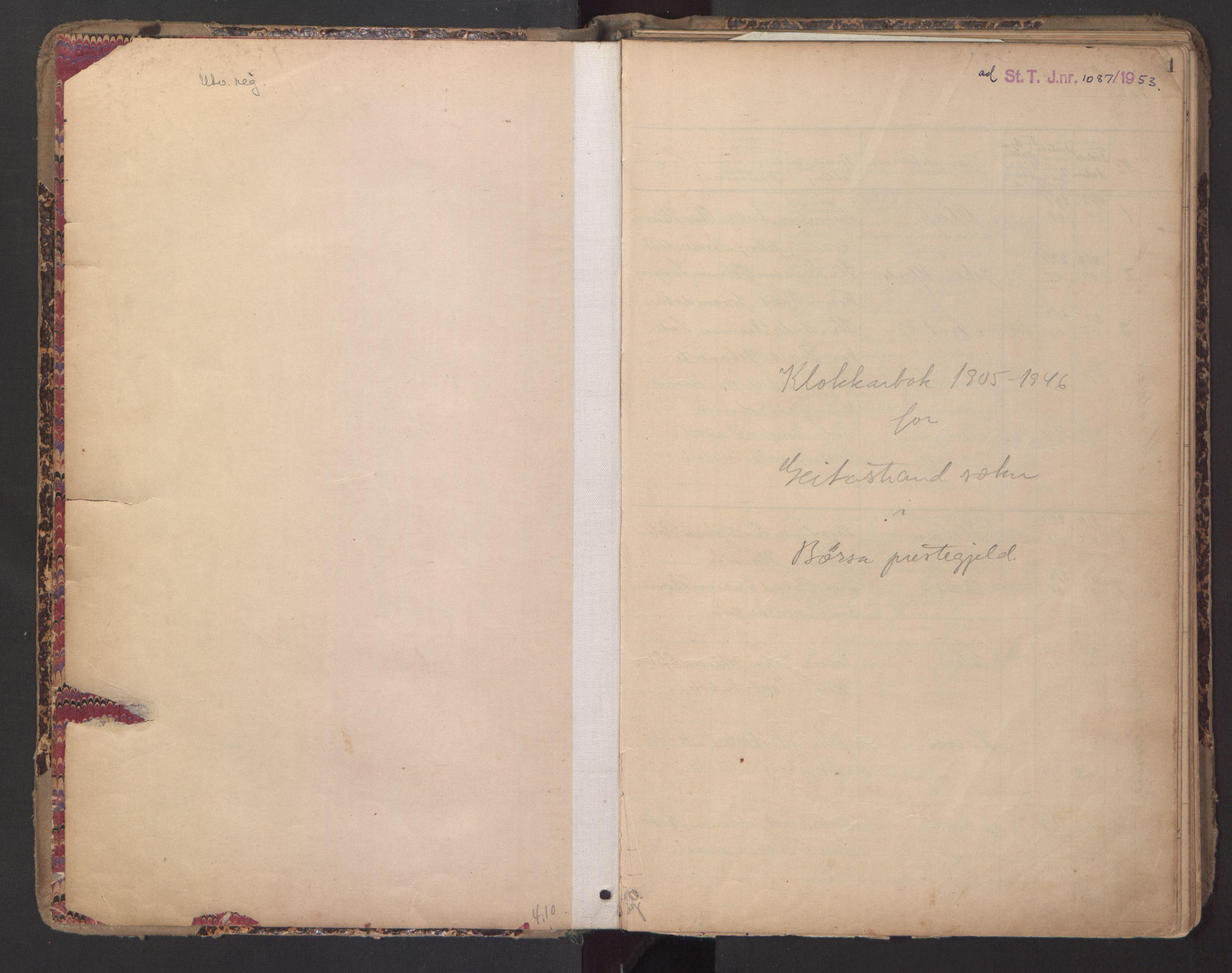 SAT, Ministerialprotokoller, klokkerbøker og fødselsregistre - Sør-Trøndelag, 670/L0837: Klokkerbok nr. 670C01, 1905-1946, s. 0-1