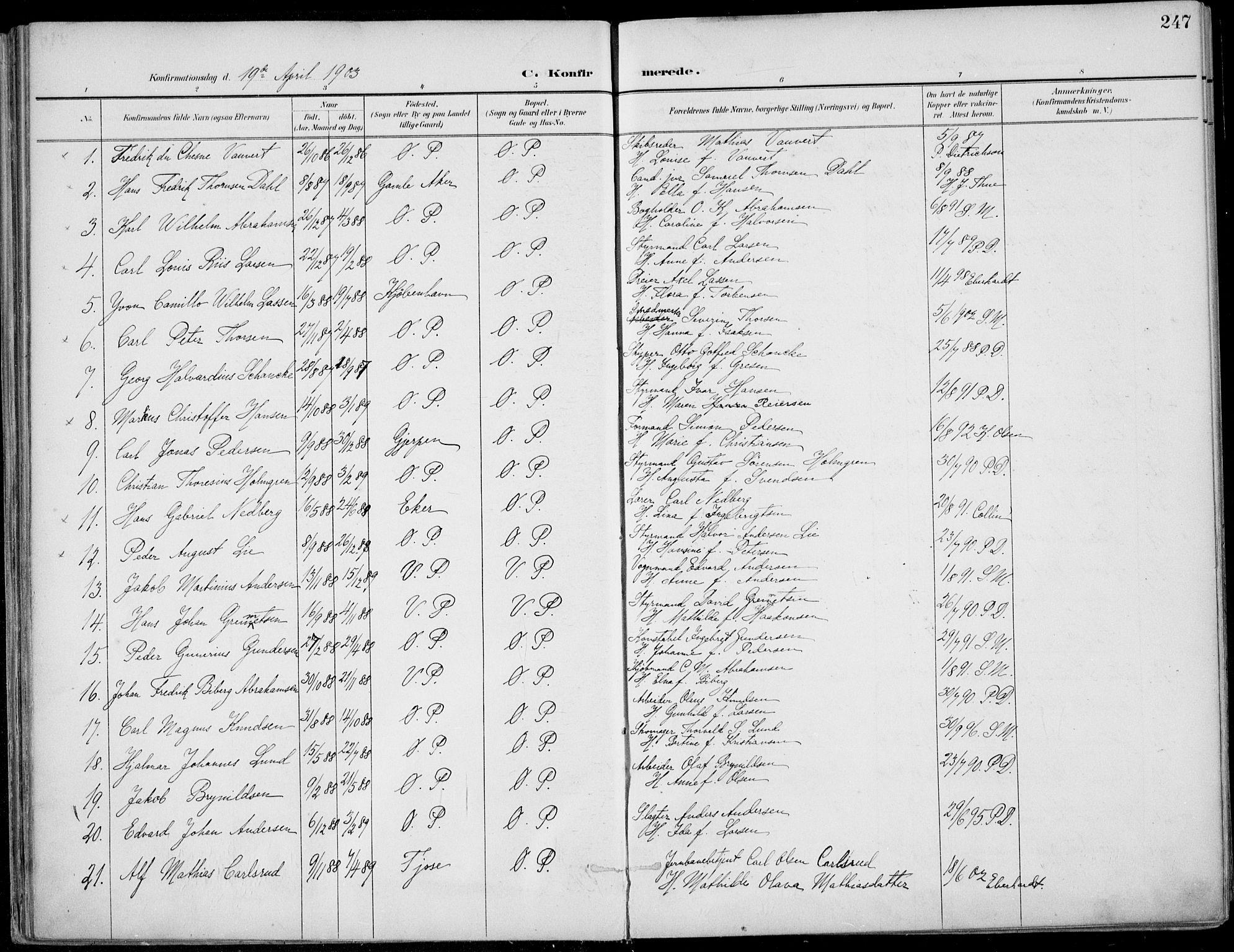 SAKO, Porsgrunn kirkebøker , F/Fa/L0011: Ministerialbok nr. 11, 1895-1919, s. 247