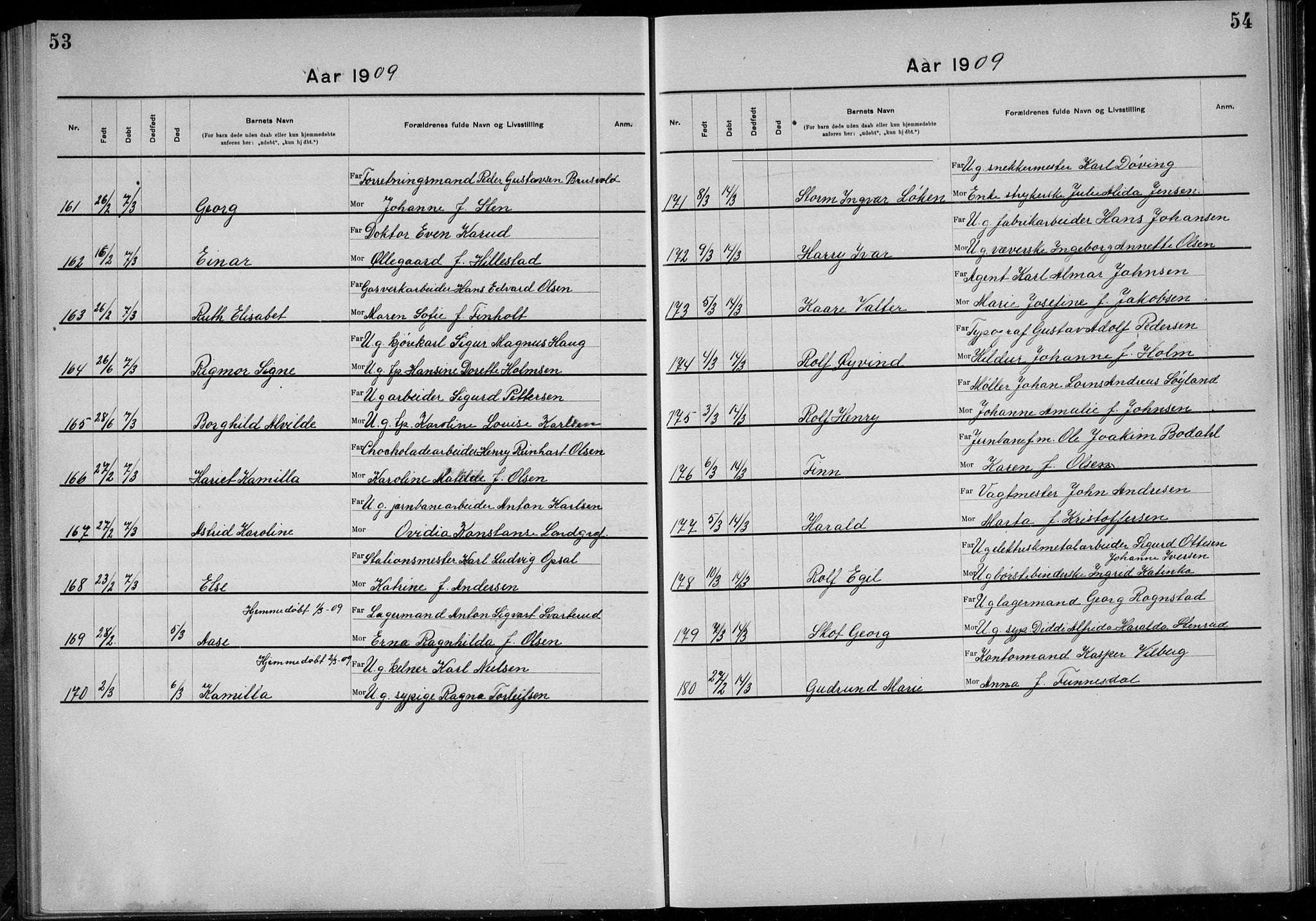 SAO, Rikshospitalet prestekontor Kirkebøker, K/L0006/0003: Dåpsbok nr. 6.3, 1908-1910, s. 53-54