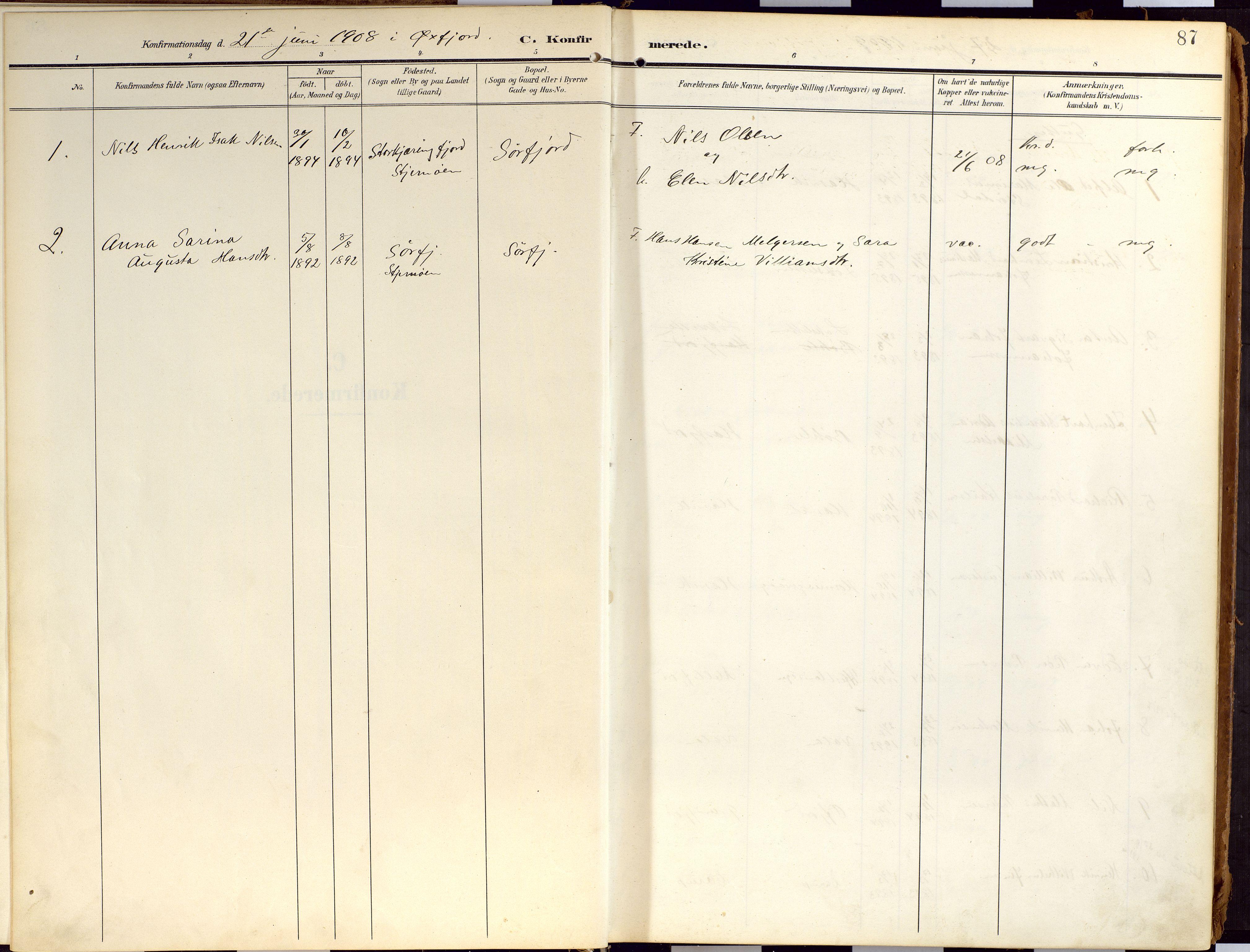 SATØ, Loppa sokneprestkontor, H/Ha/L0010kirke: Ministerialbok nr. 10, 1907-1922, s. 87