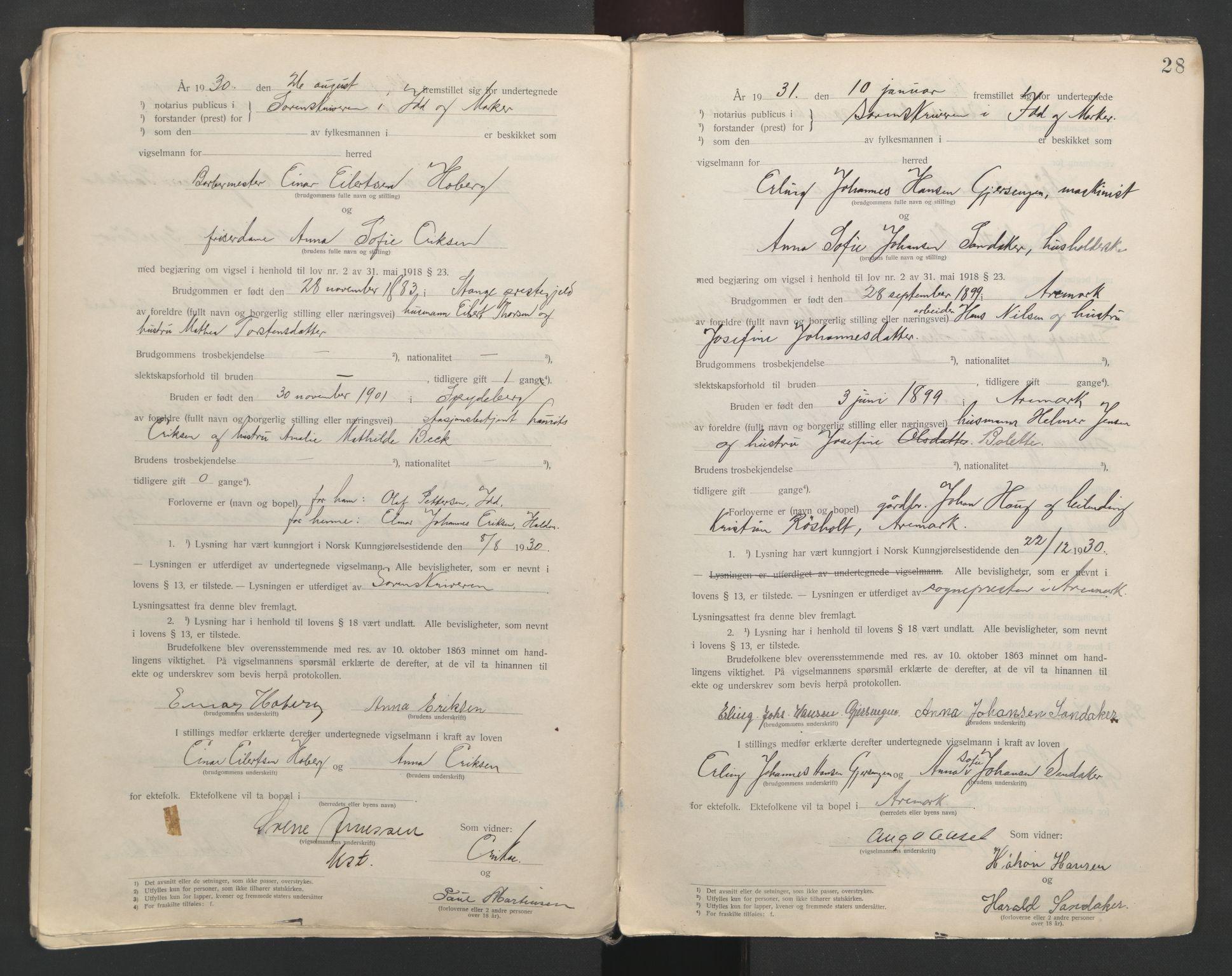 SAO, Idd og Marker sorenskriveri, L/Lc/L0001: Vigselsbøker, 1920-1942, s. 28