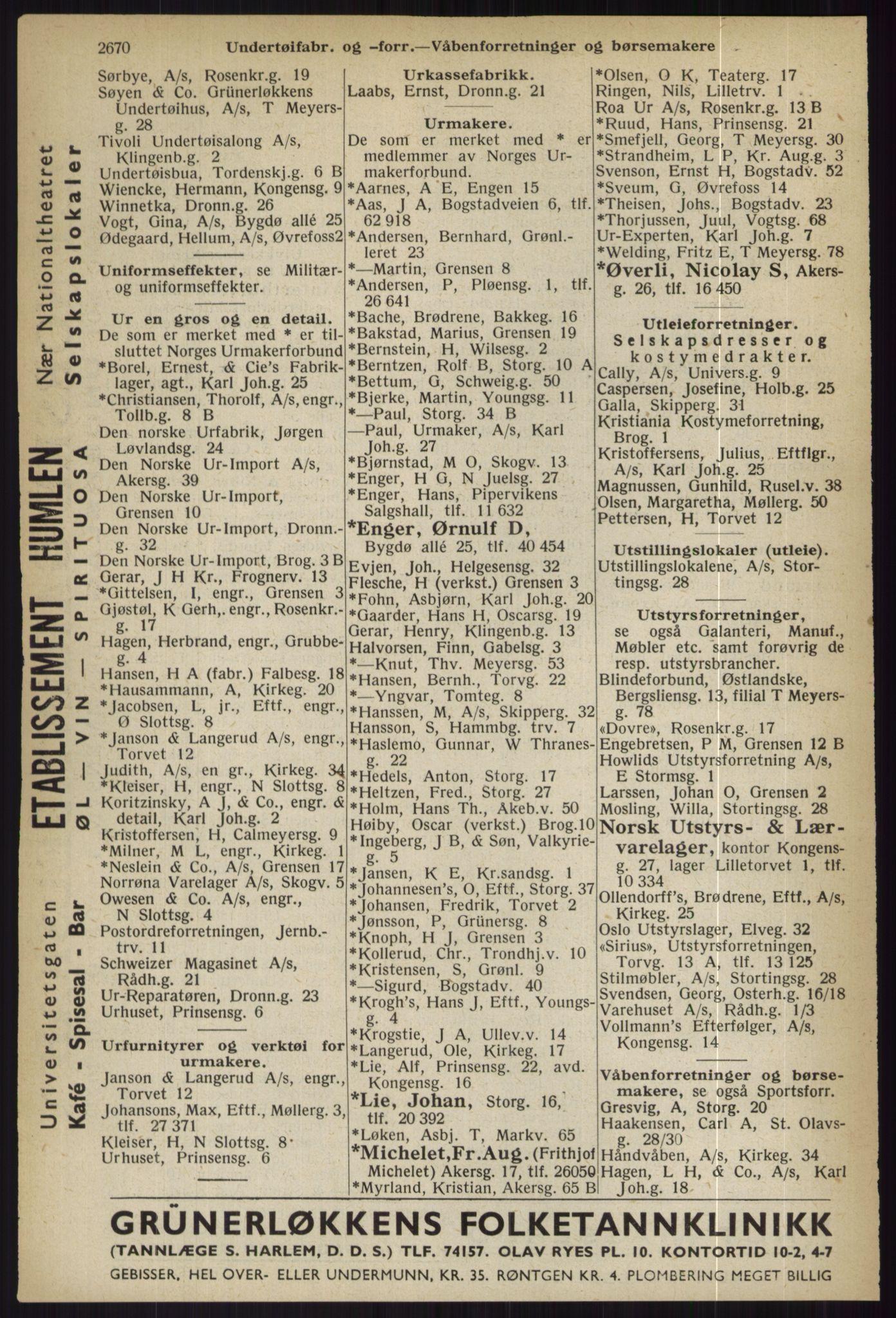 RA, Oslo adressebok (publikasjon)*, 1936, s. 2670