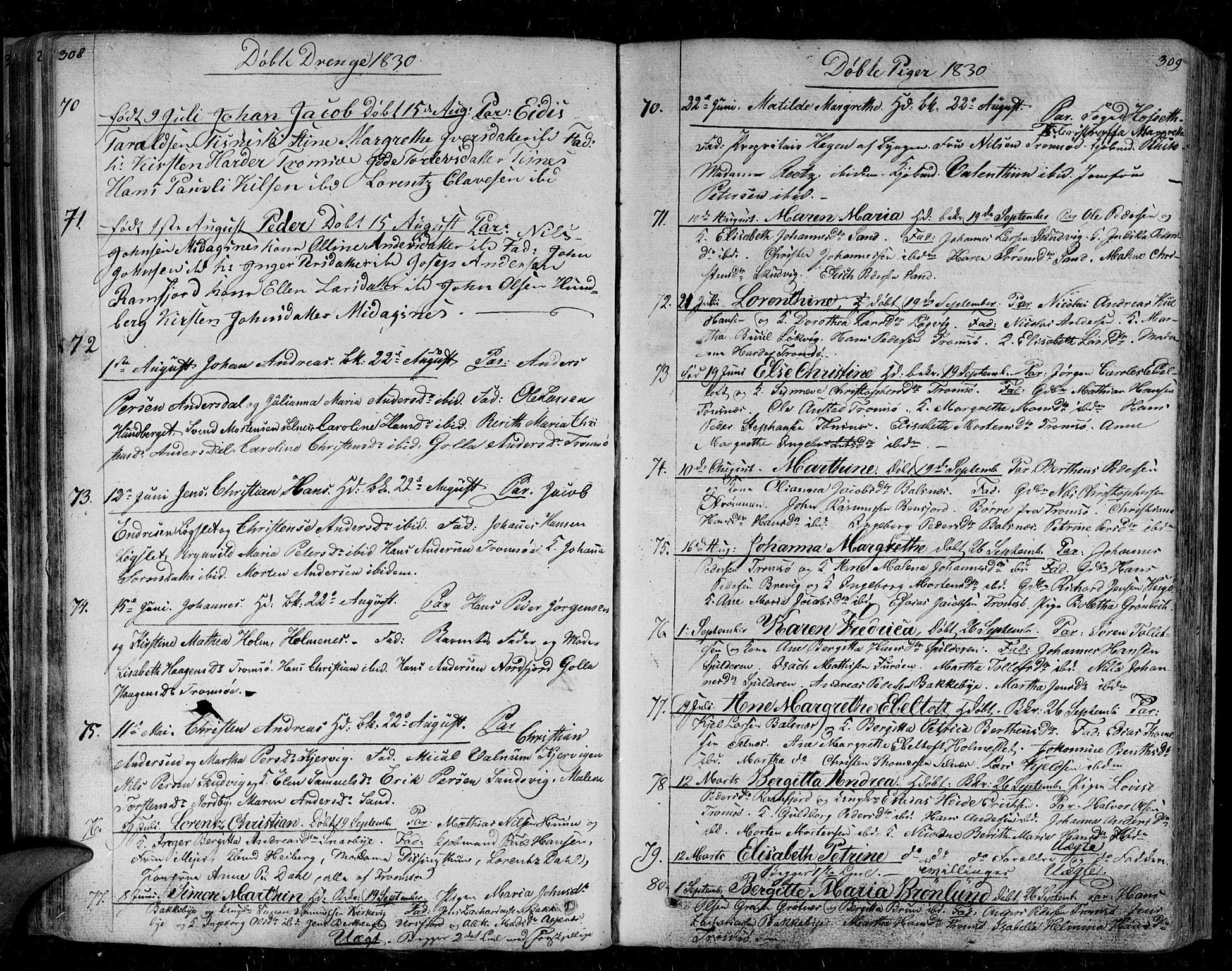 SATØ, Tromsø sokneprestkontor/stiftsprosti/domprosti, G/Ga/L0008kirke: Ministerialbok nr. 8, 1829-1837, s. 308-309