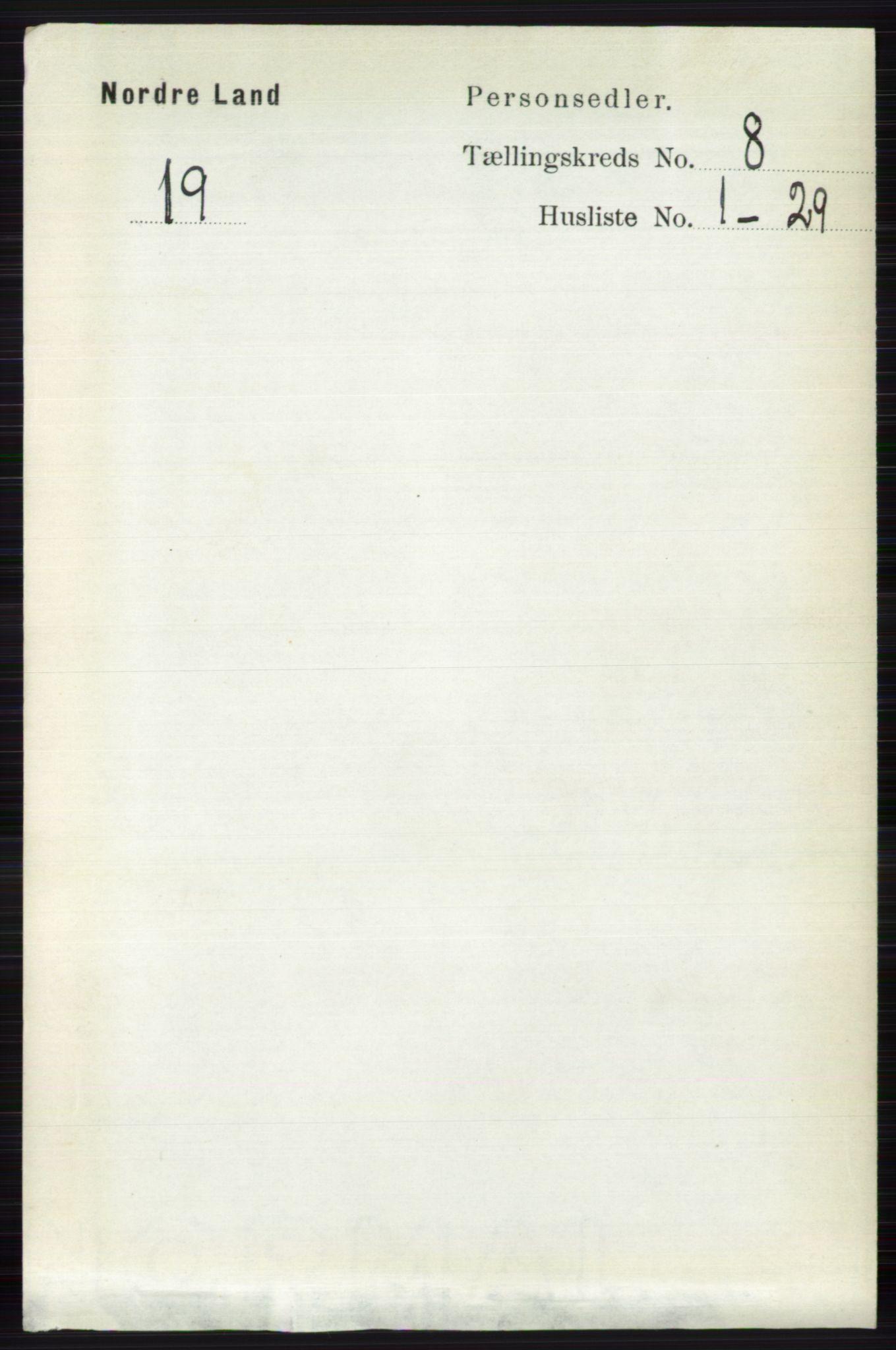RA, Folketelling 1891 for 0538 Nordre Land herred, 1891, s. 2207