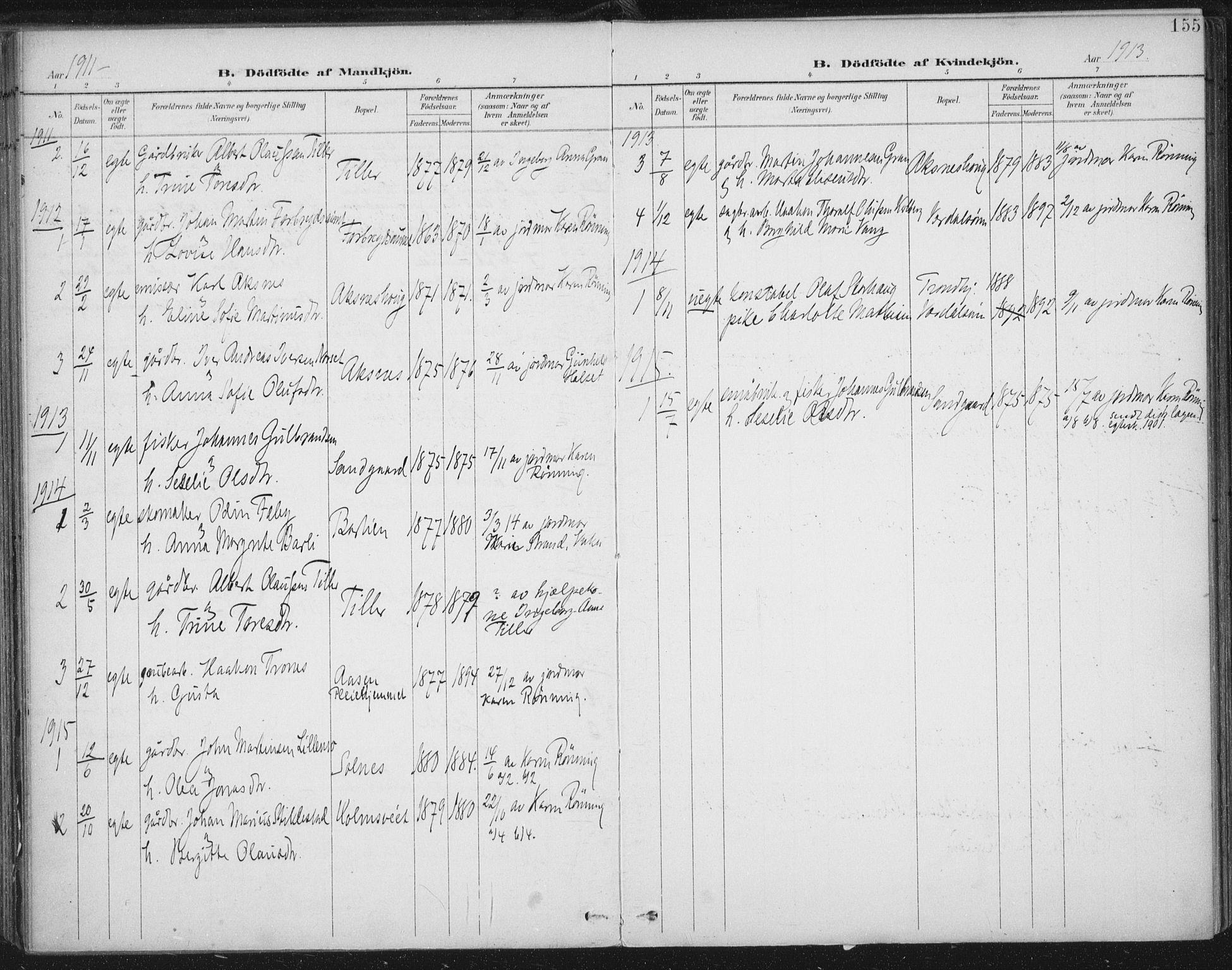 SAT, Ministerialprotokoller, klokkerbøker og fødselsregistre - Nord-Trøndelag, 723/L0246: Ministerialbok nr. 723A15, 1900-1917, s. 155