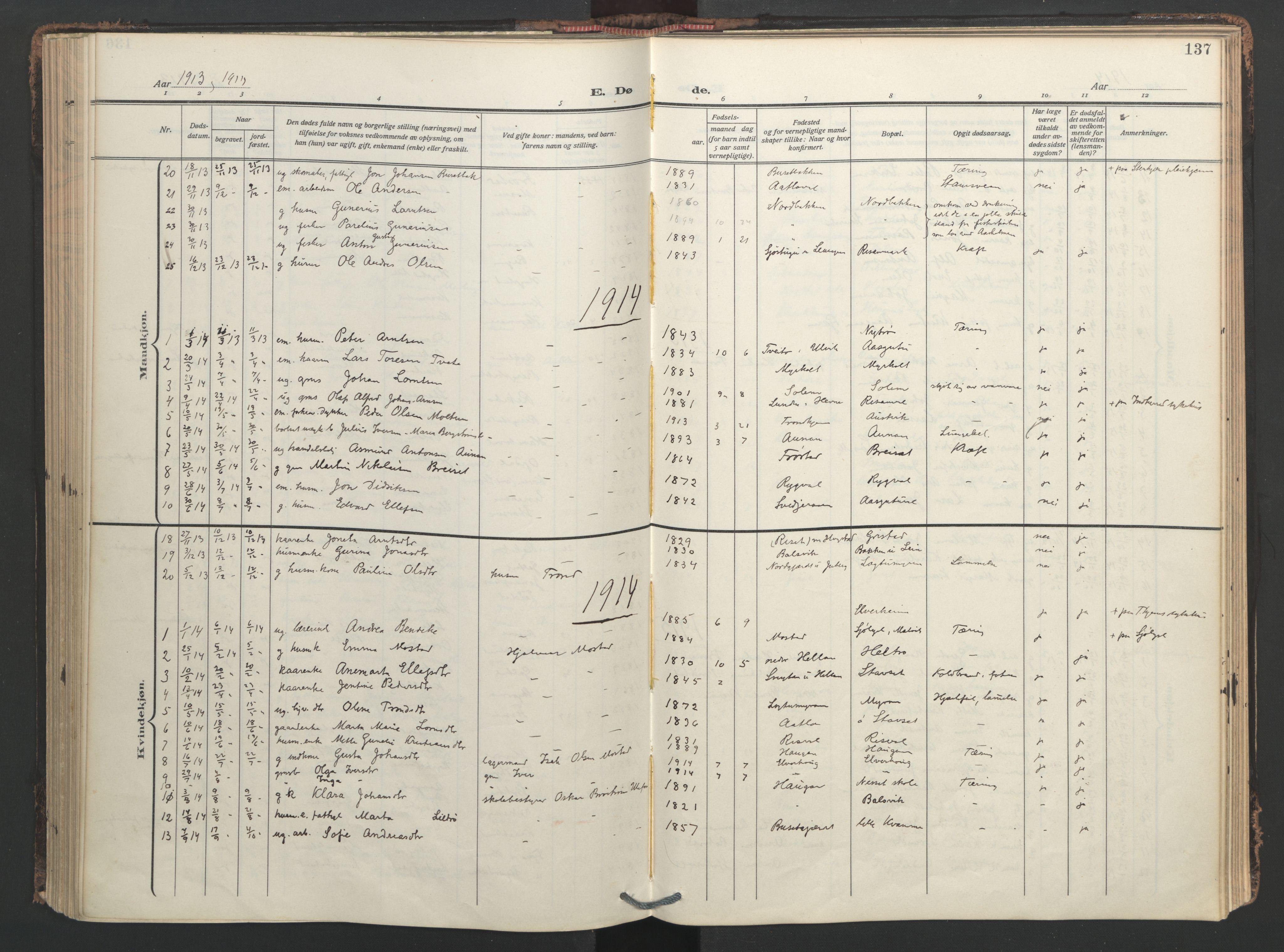 SAT, Ministerialprotokoller, klokkerbøker og fødselsregistre - Nord-Trøndelag, 713/L0123: Ministerialbok nr. 713A12, 1911-1925, s. 137