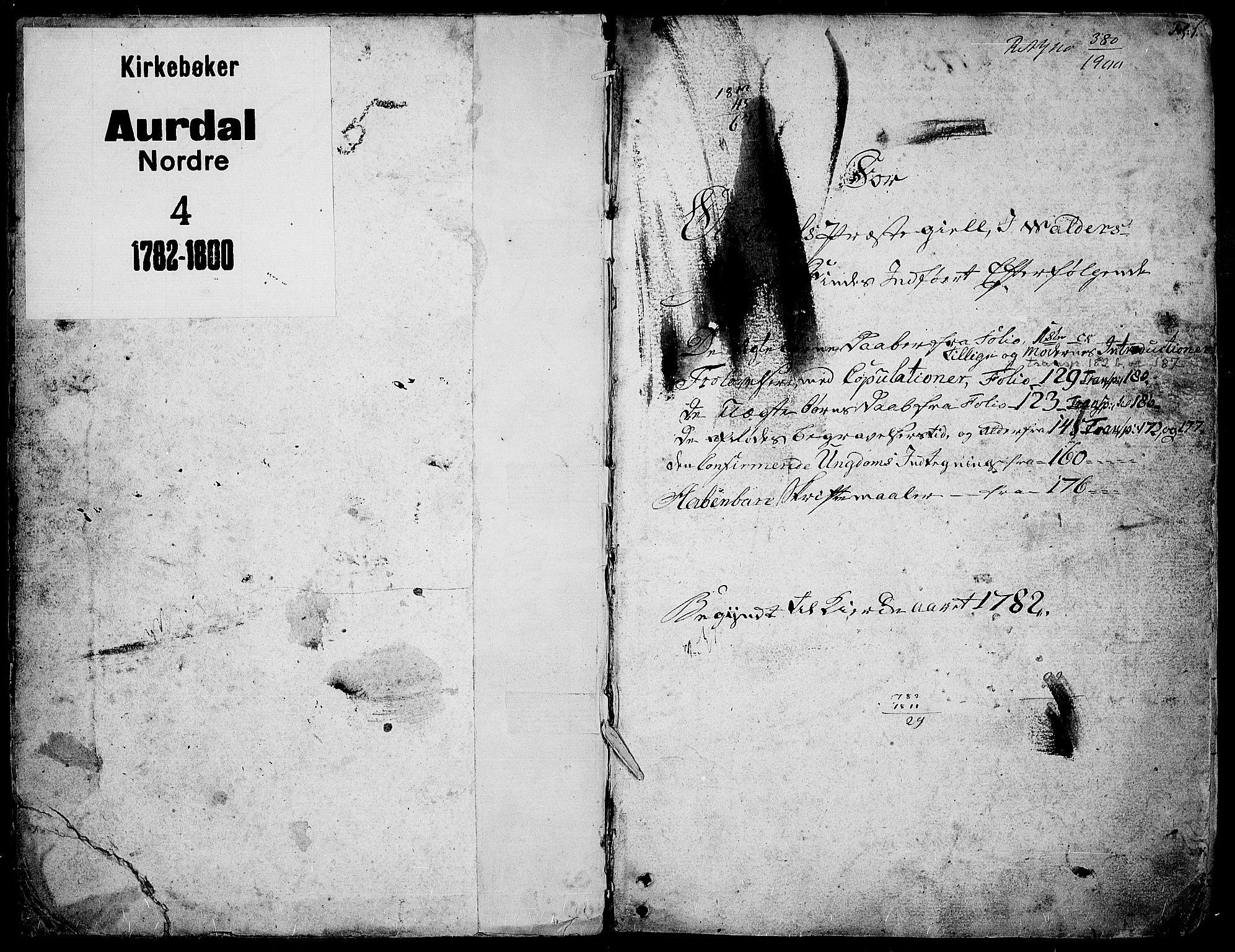 SAH, Aurdal prestekontor, Ministerialbok nr. 6, 1781-1804, s. 1