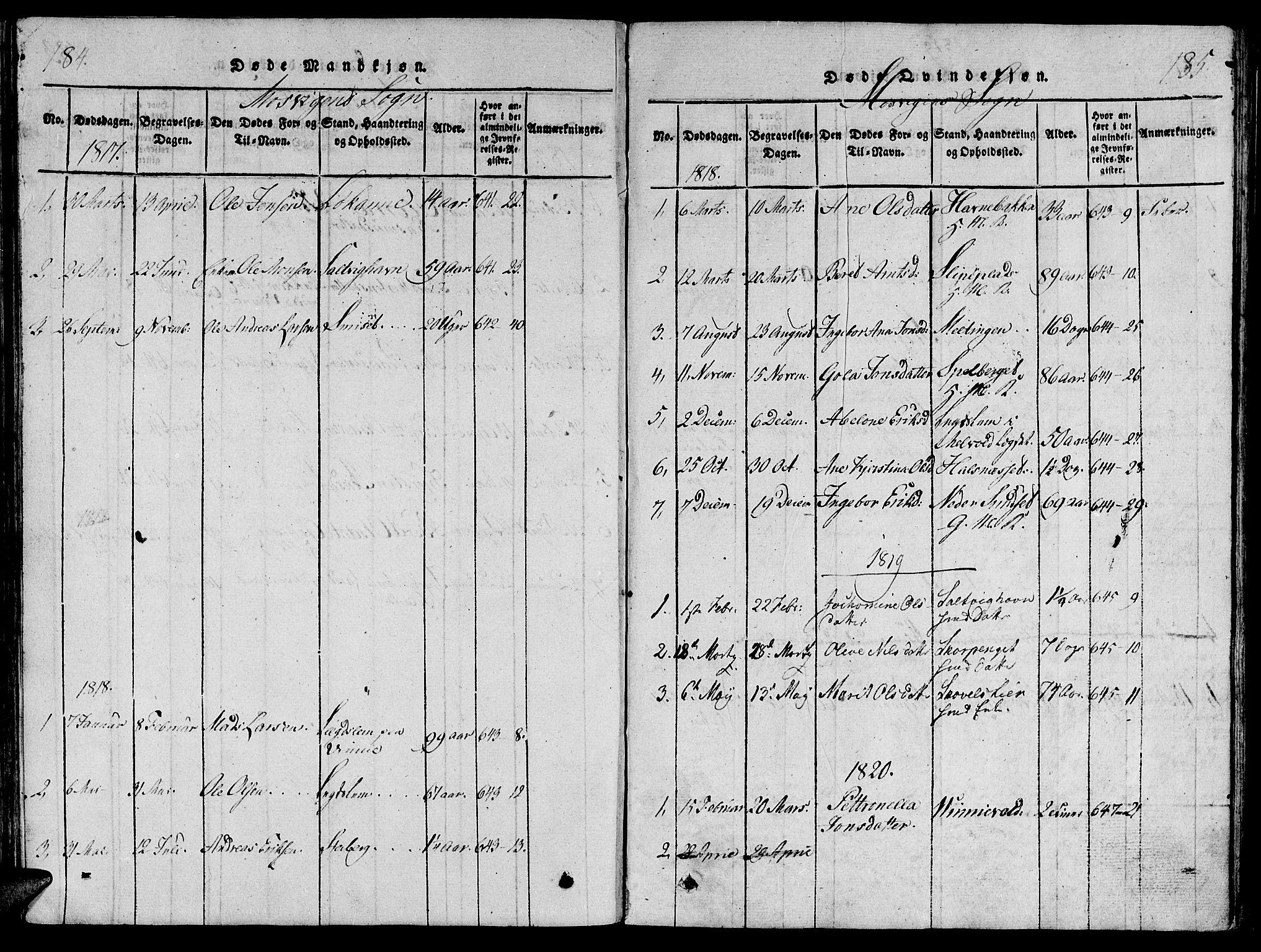SAT, Ministerialprotokoller, klokkerbøker og fødselsregistre - Nord-Trøndelag, 733/L0322: Ministerialbok nr. 733A01, 1817-1842, s. 184-185