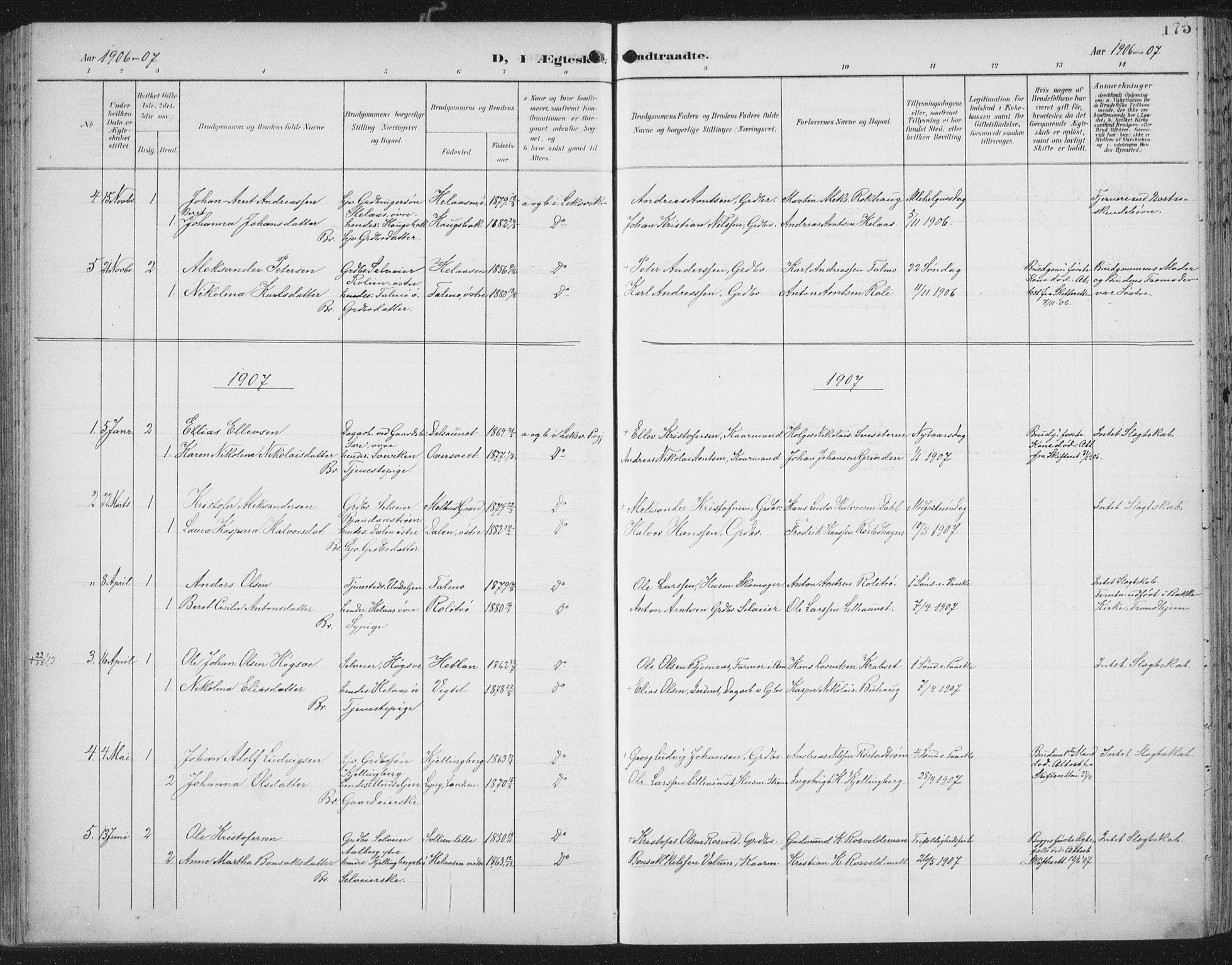 SAT, Ministerialprotokoller, klokkerbøker og fødselsregistre - Nord-Trøndelag, 701/L0011: Ministerialbok nr. 701A11, 1899-1915, s. 175