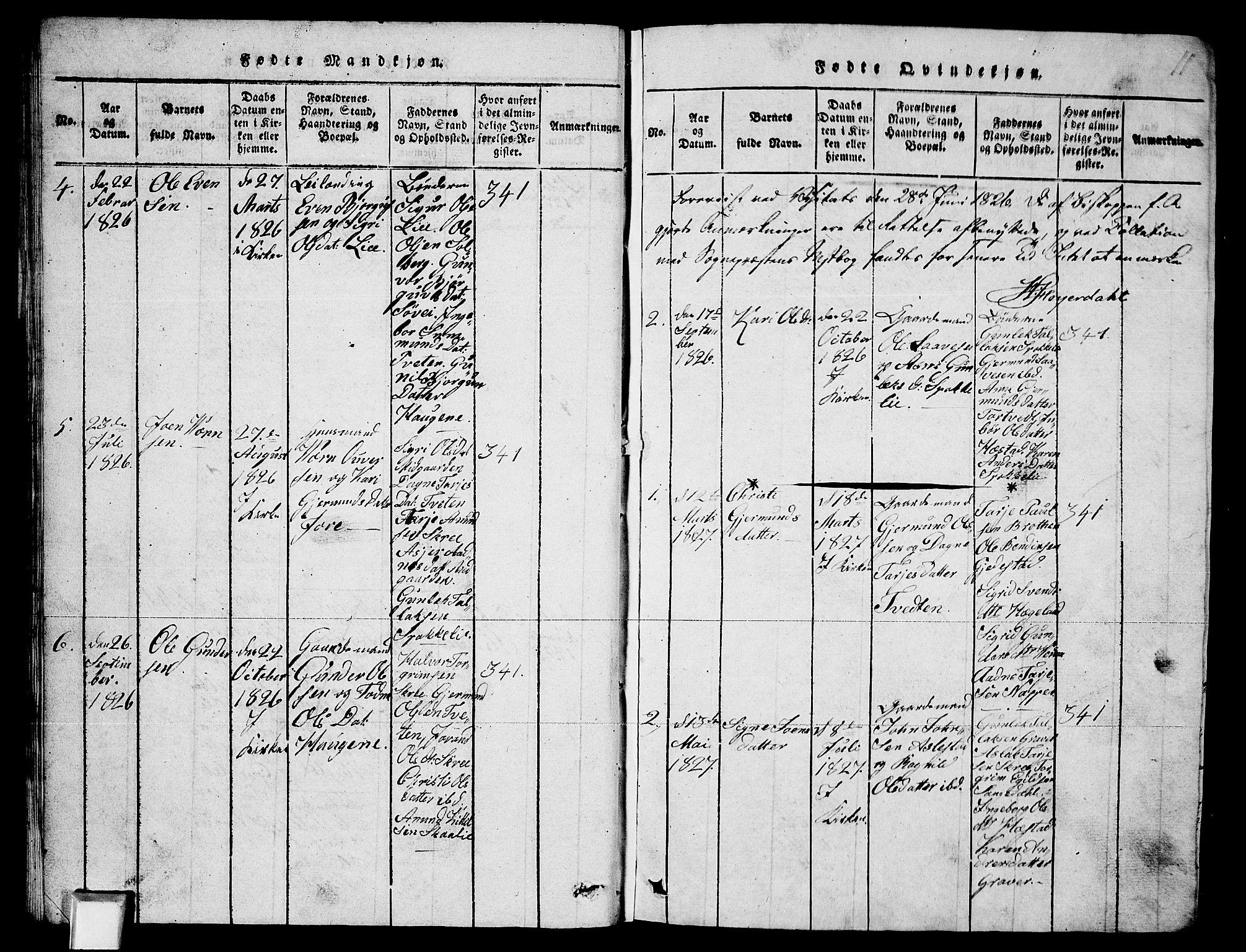 SAKO, Fyresdal kirkebøker, G/Ga/L0003: Klokkerbok nr. I 3, 1815-1863, s. 11