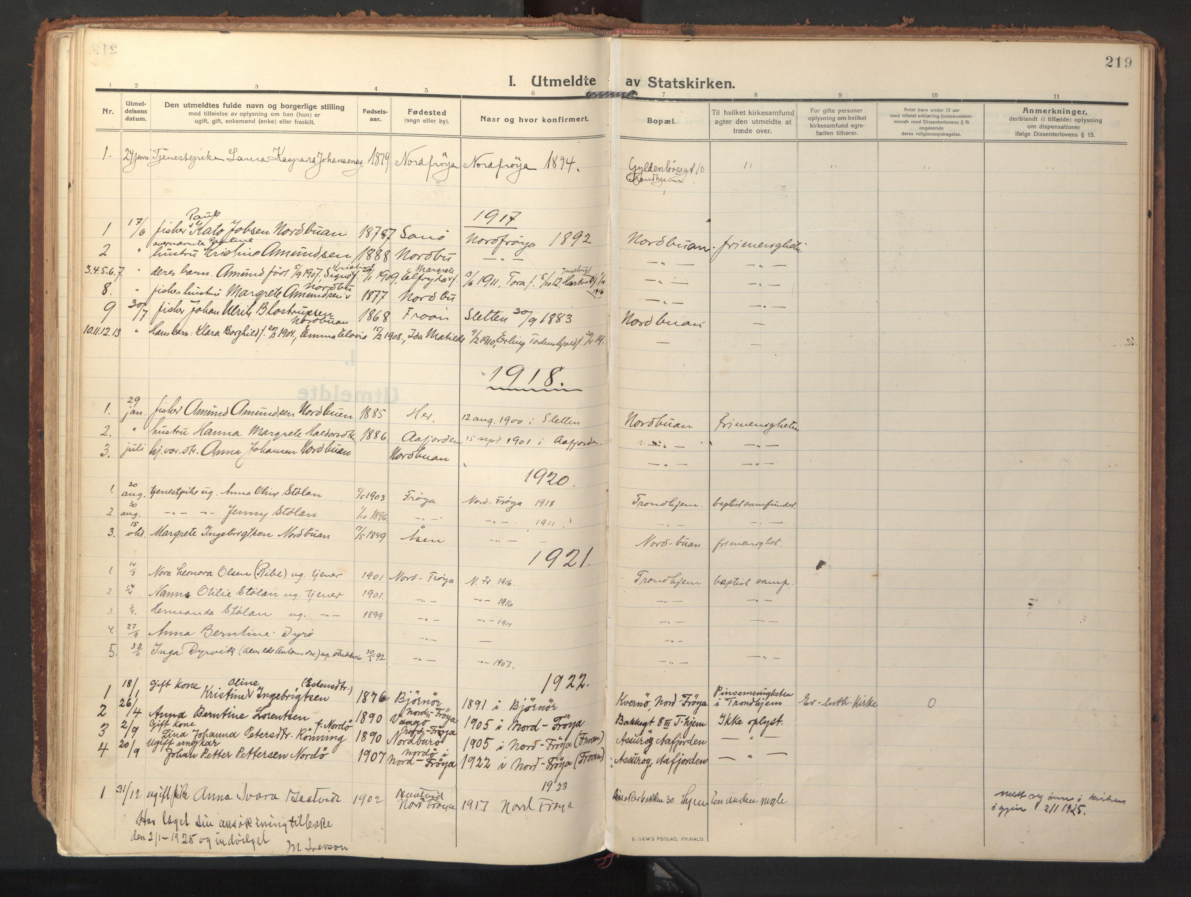 SAT, Ministerialprotokoller, klokkerbøker og fødselsregistre - Sør-Trøndelag, 640/L0581: Ministerialbok nr. 640A06, 1910-1924, s. 219