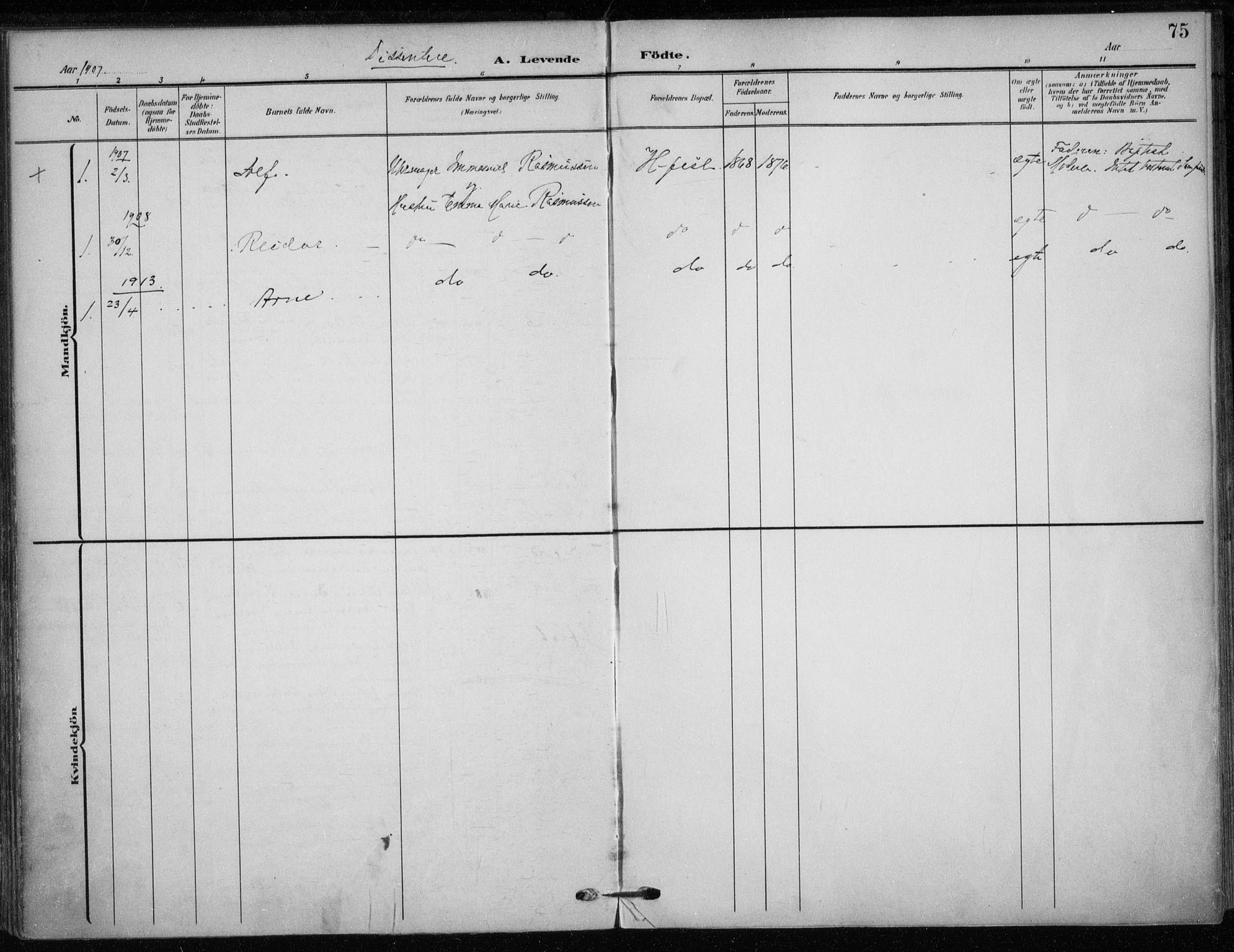 SATØ, Hammerfest sokneprestkontor, H/Ha/L0014.kirke: Ministerialbok nr. 14, 1906-1916, s. 75
