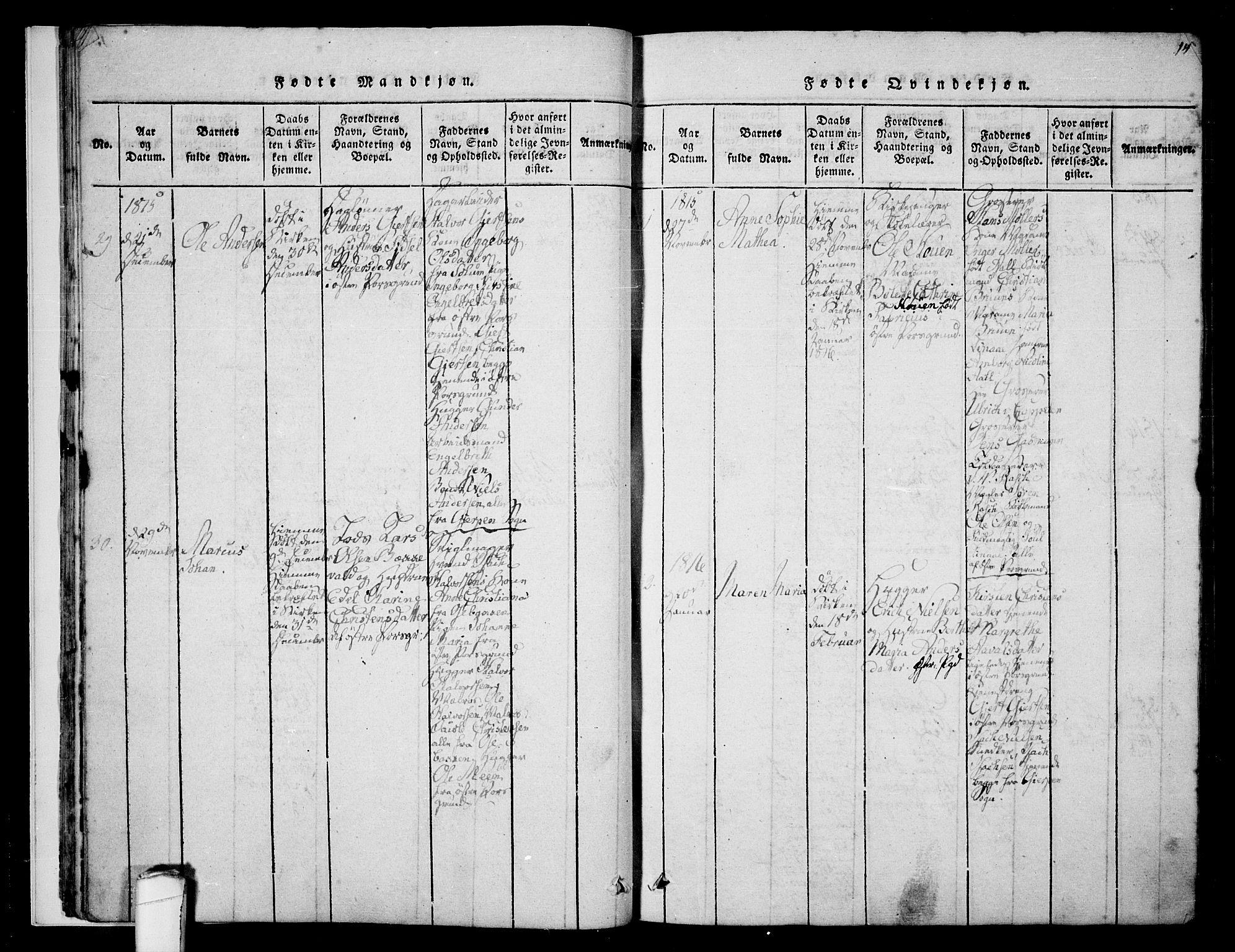 SAKO, Porsgrunn kirkebøker , F/Fa/L0004: Ministerialbok nr. 4, 1814-1828, s. 14