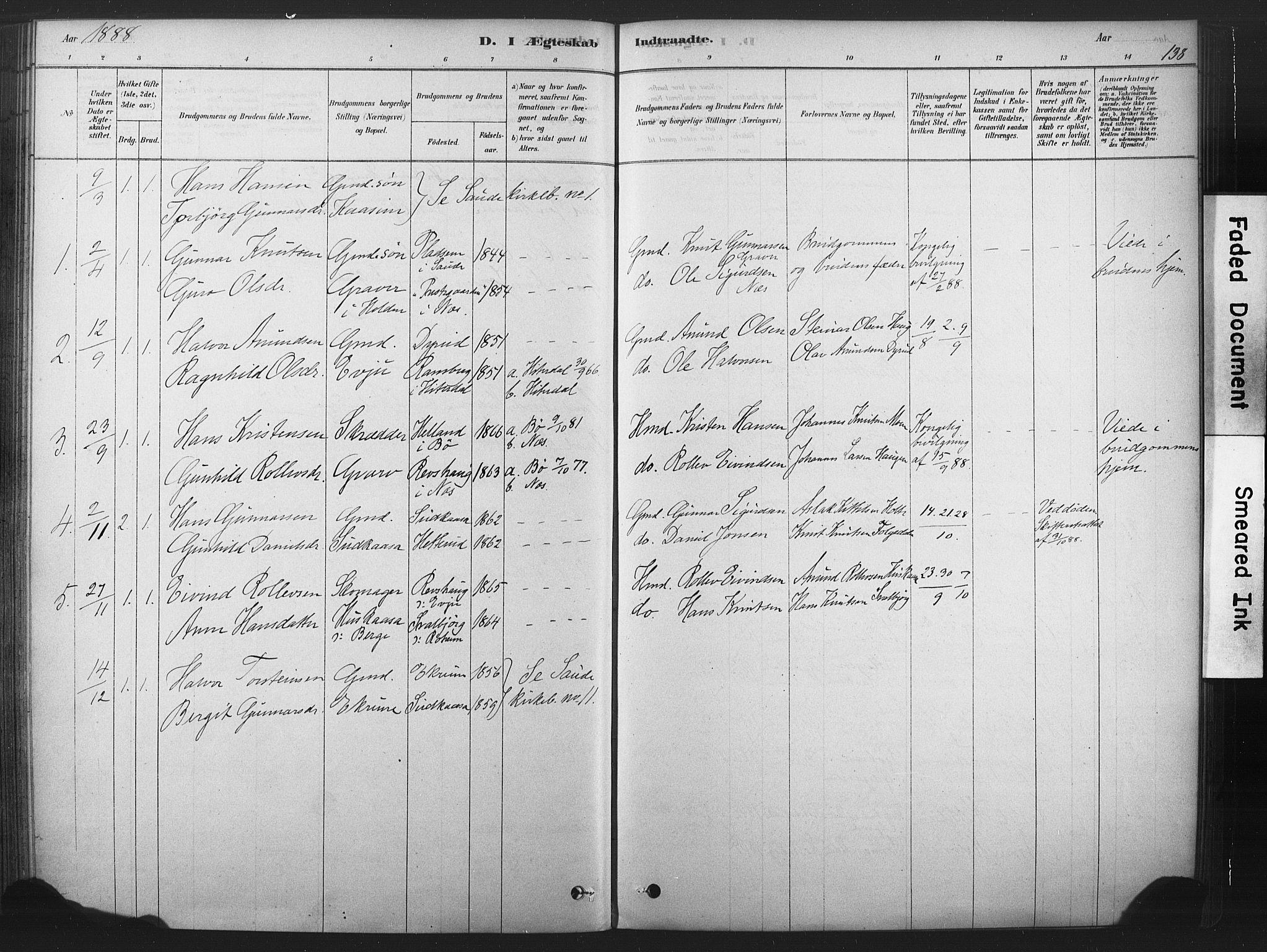 SAKO, Sauherad kirkebøker, F/Fb/L0002: Ministerialbok nr. II 2, 1878-1901, s. 138
