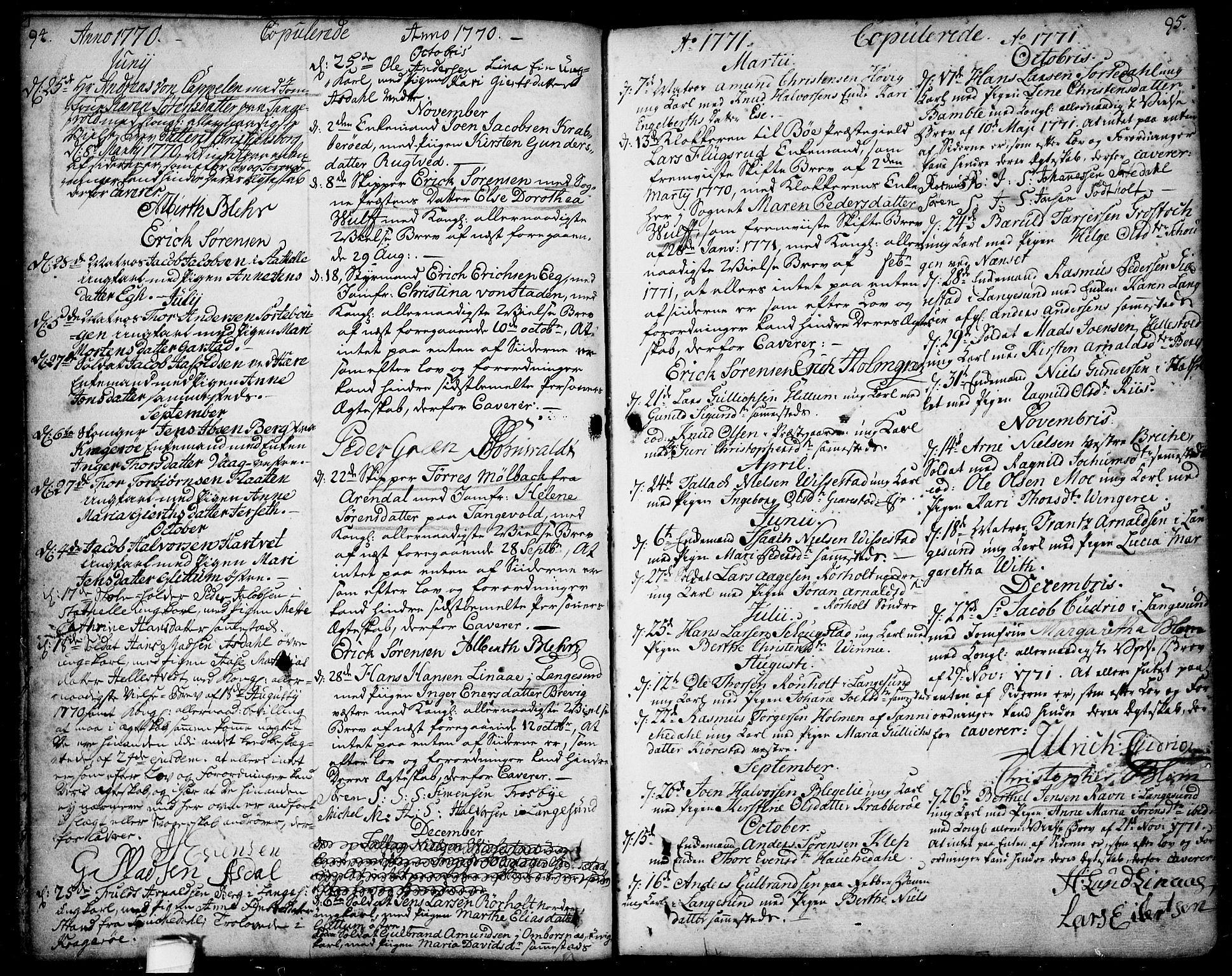 SAKO, Bamble kirkebøker, F/Fa/L0001: Ministerialbok nr. I 1, 1702-1774, s. 94-95