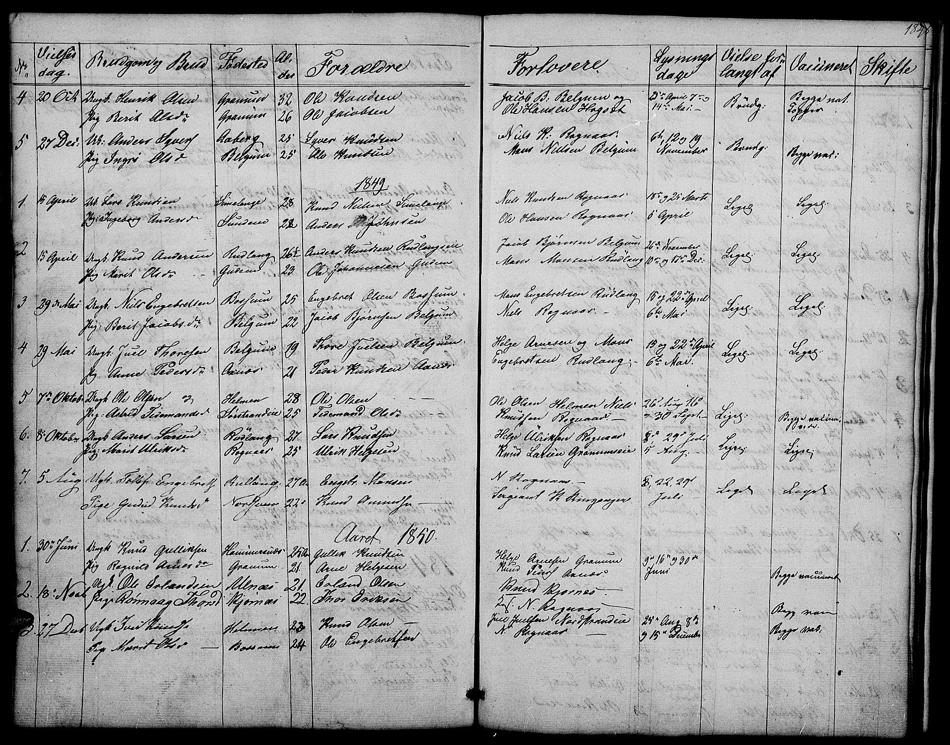 SAH, Nord-Aurdal prestekontor, Klokkerbok nr. 4, 1842-1882, s. 184