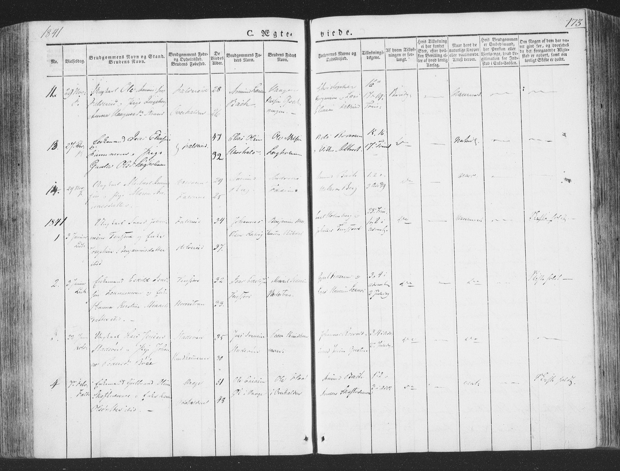 SAT, Ministerialprotokoller, klokkerbøker og fødselsregistre - Nord-Trøndelag, 780/L0639: Ministerialbok nr. 780A04, 1830-1844, s. 173