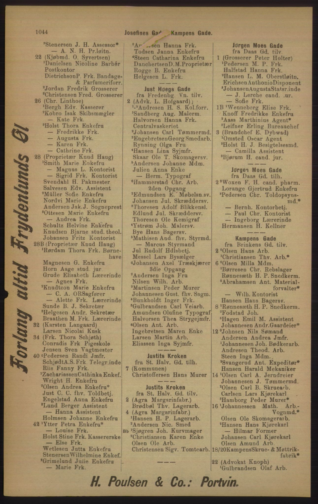 RA, Kristiania adressebok (publikasjon)*, 1905, s. 1044