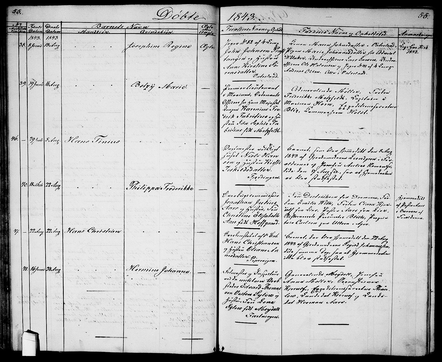 SAO, Garnisonsmenigheten Kirkebøker, G/Ga/L0005: Klokkerbok nr. 5, 1841-1860, s. 55