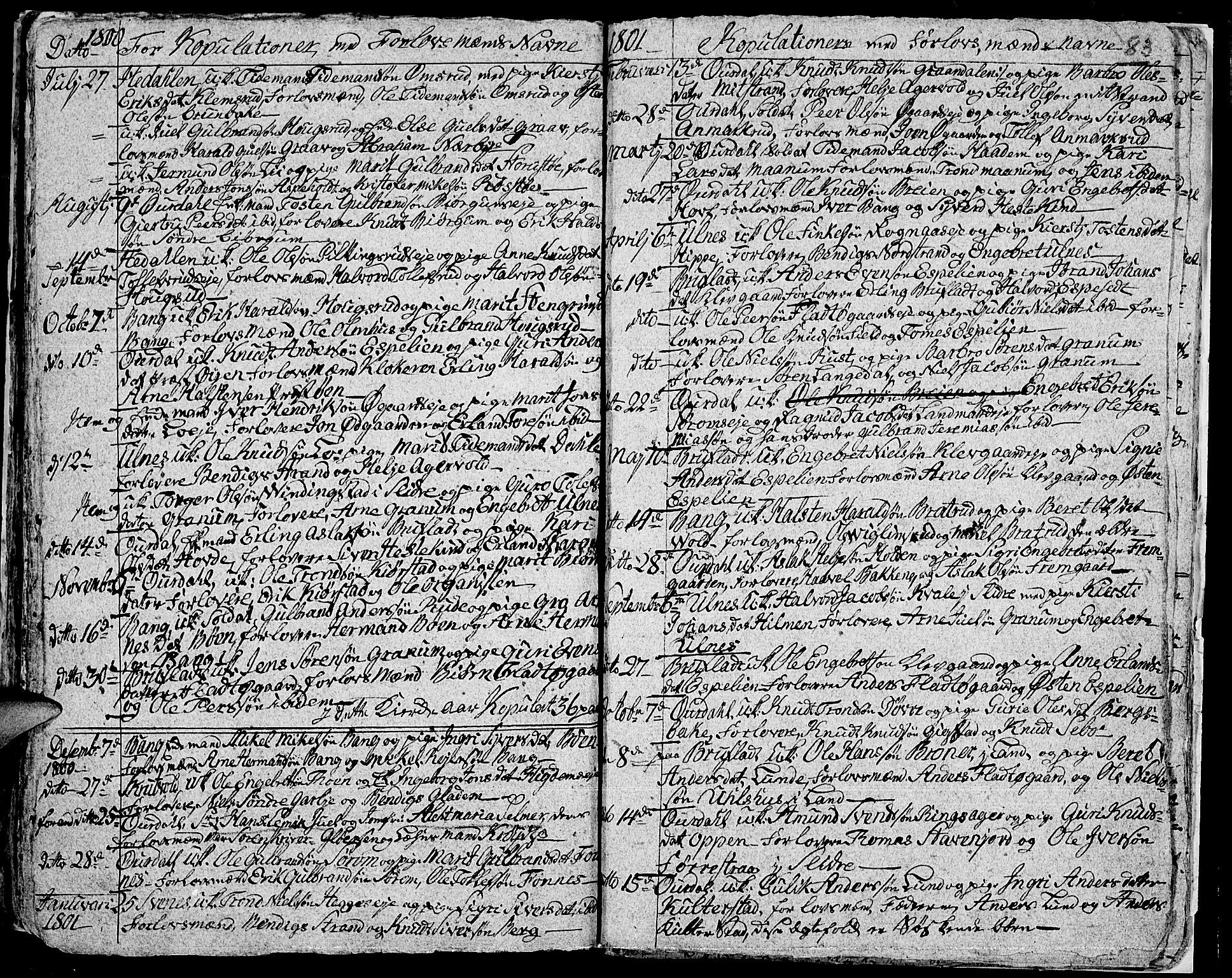 SAH, Aurdal prestekontor, Ministerialbok nr. 7, 1800-1808, s. 83