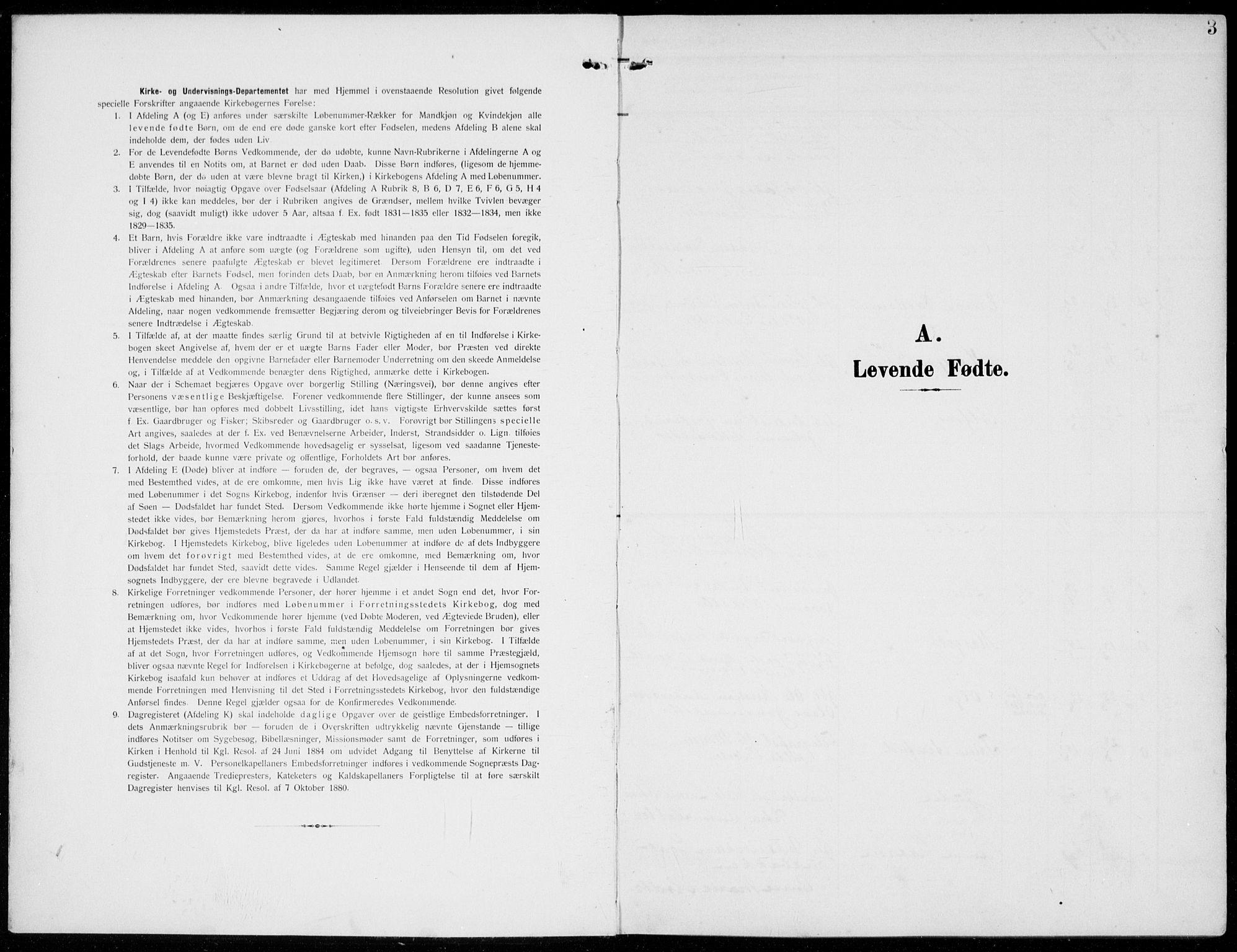 SAH, Kolbu prestekontor, Ministerialbok nr. 1, 1907-1923, s. 3