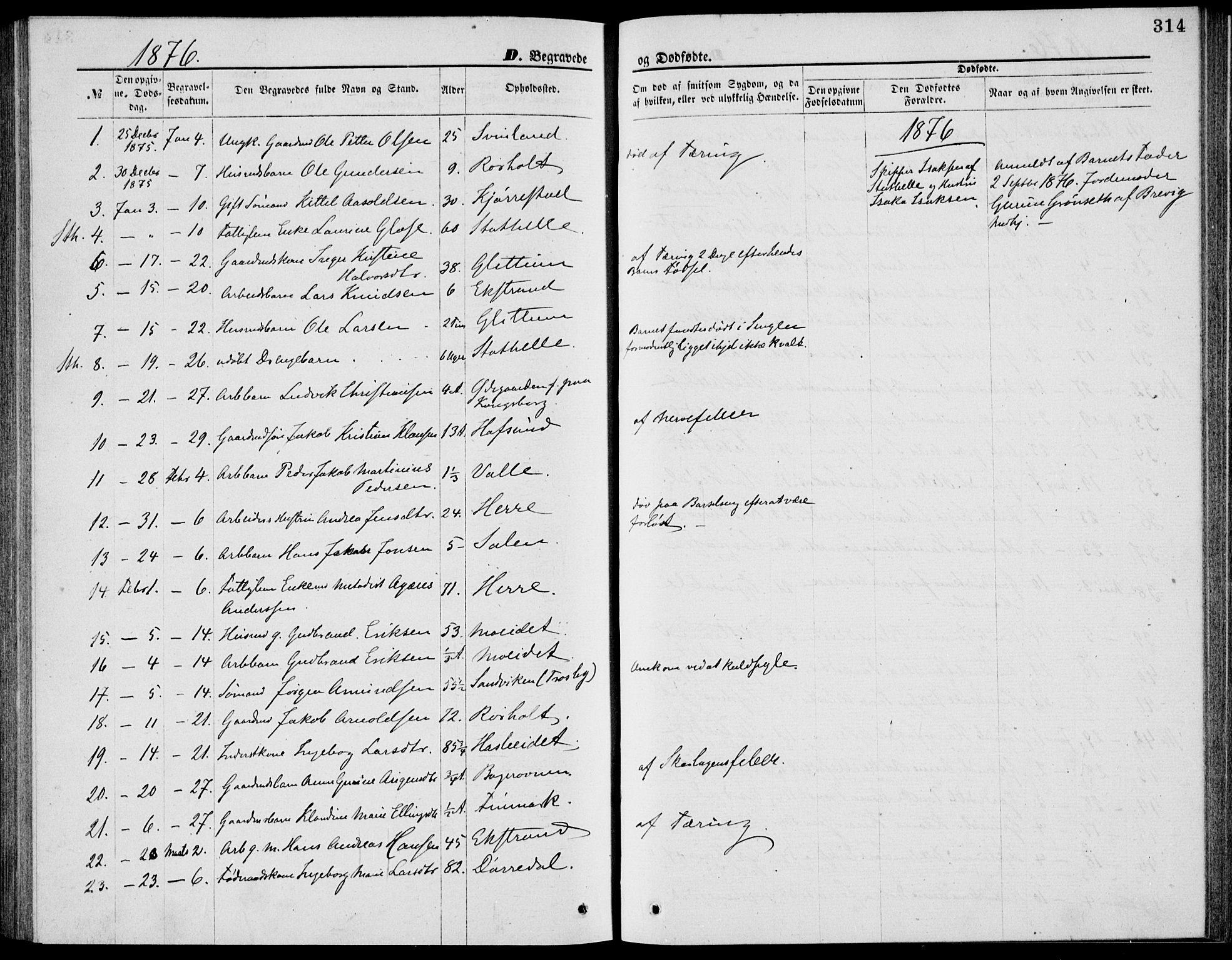 SAKO, Bamble kirkebøker, G/Ga/L0007: Klokkerbok nr. I 7, 1876-1877, s. 314