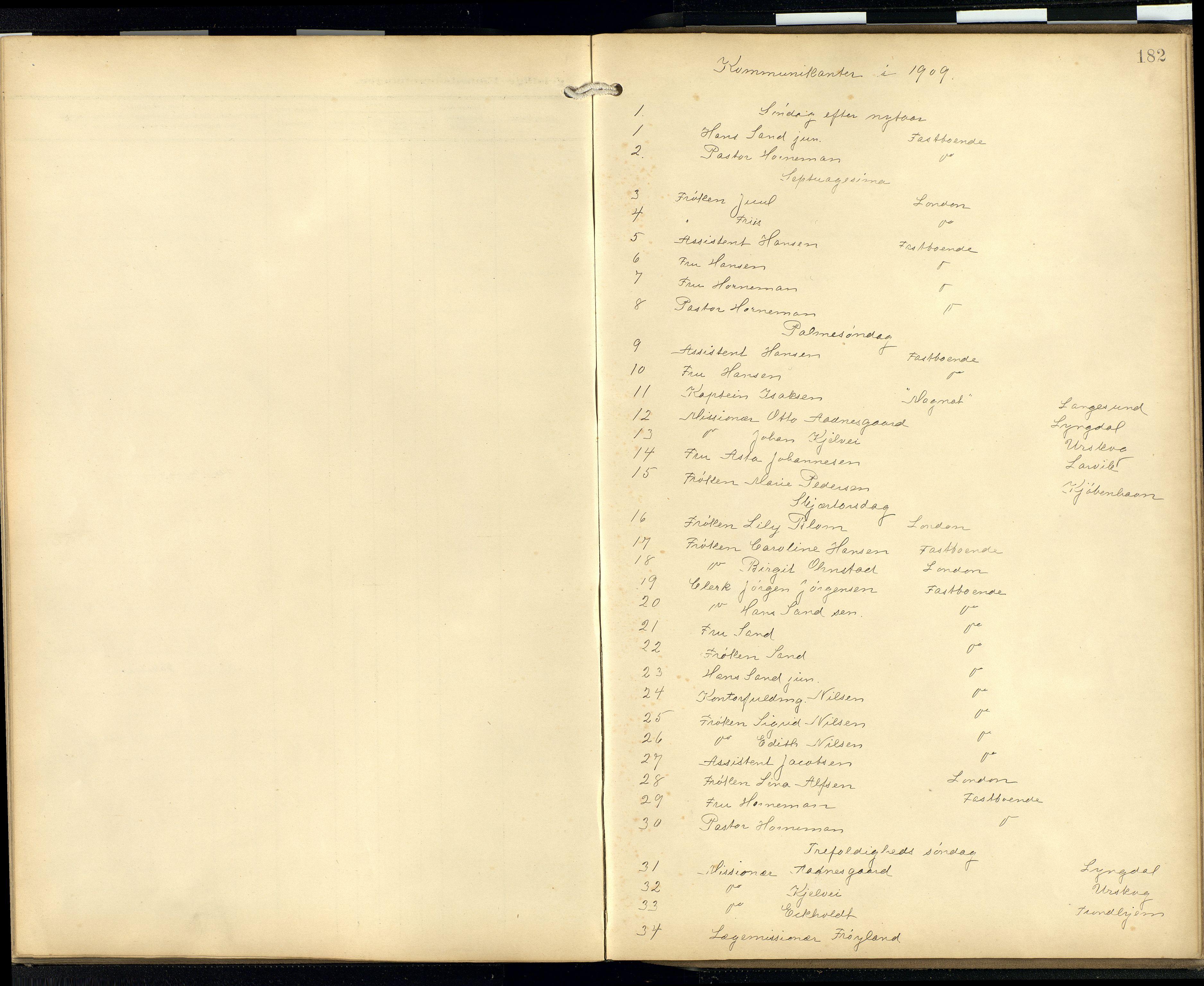 SAB, Privatarkiv 103 - Den norske sjømannsmisjon i utlandet/London m/bistasjoner, H/Ha/L0003: Ministerialbok nr. A 3, 1903-1934, s. 181b-182a
