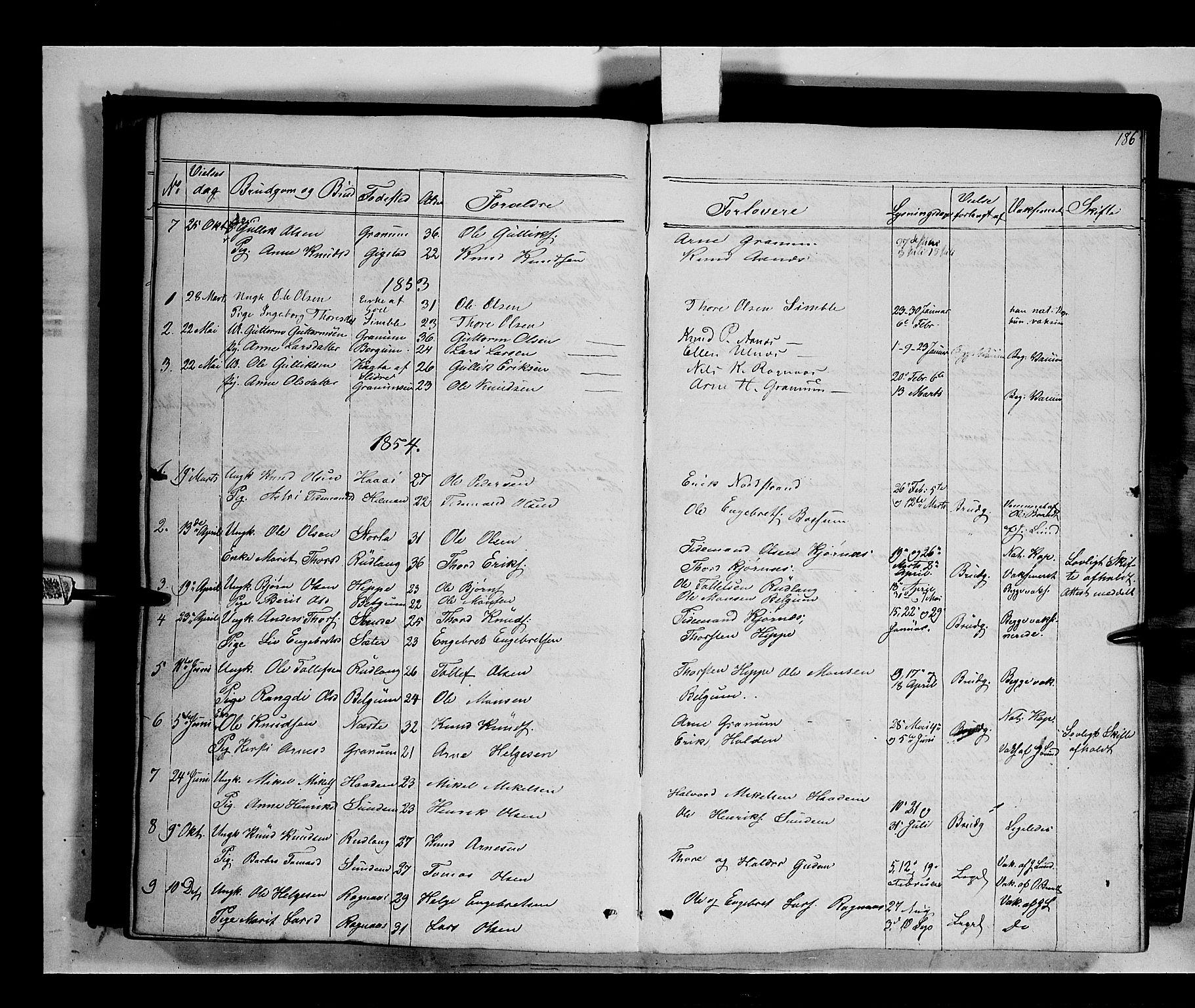 SAH, Nord-Aurdal prestekontor, Ministerialbok nr. 6, 1842-1863, s. 186