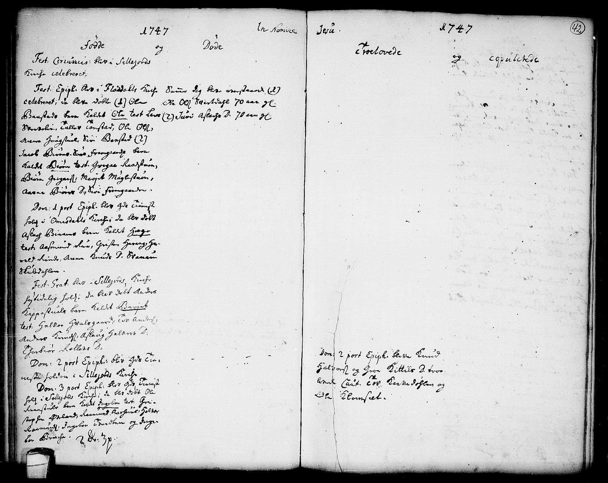 SAKO, Seljord kirkebøker, F/Fa/L0006: Ministerialbok nr. I 6, 1744-1755, s. 42