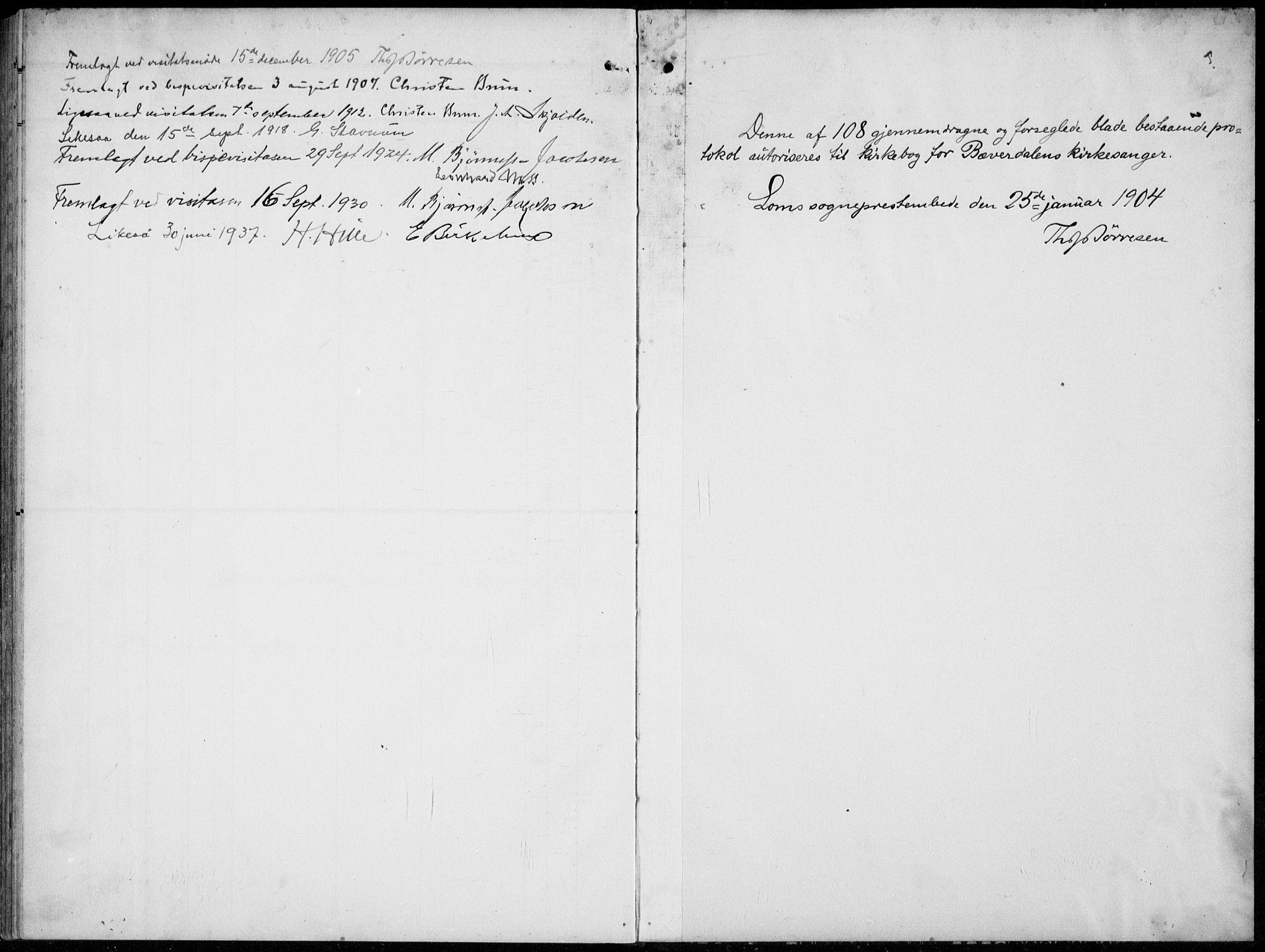 SAH, Lom prestekontor, L/L0007: Klokkerbok nr. 7, 1904-1938