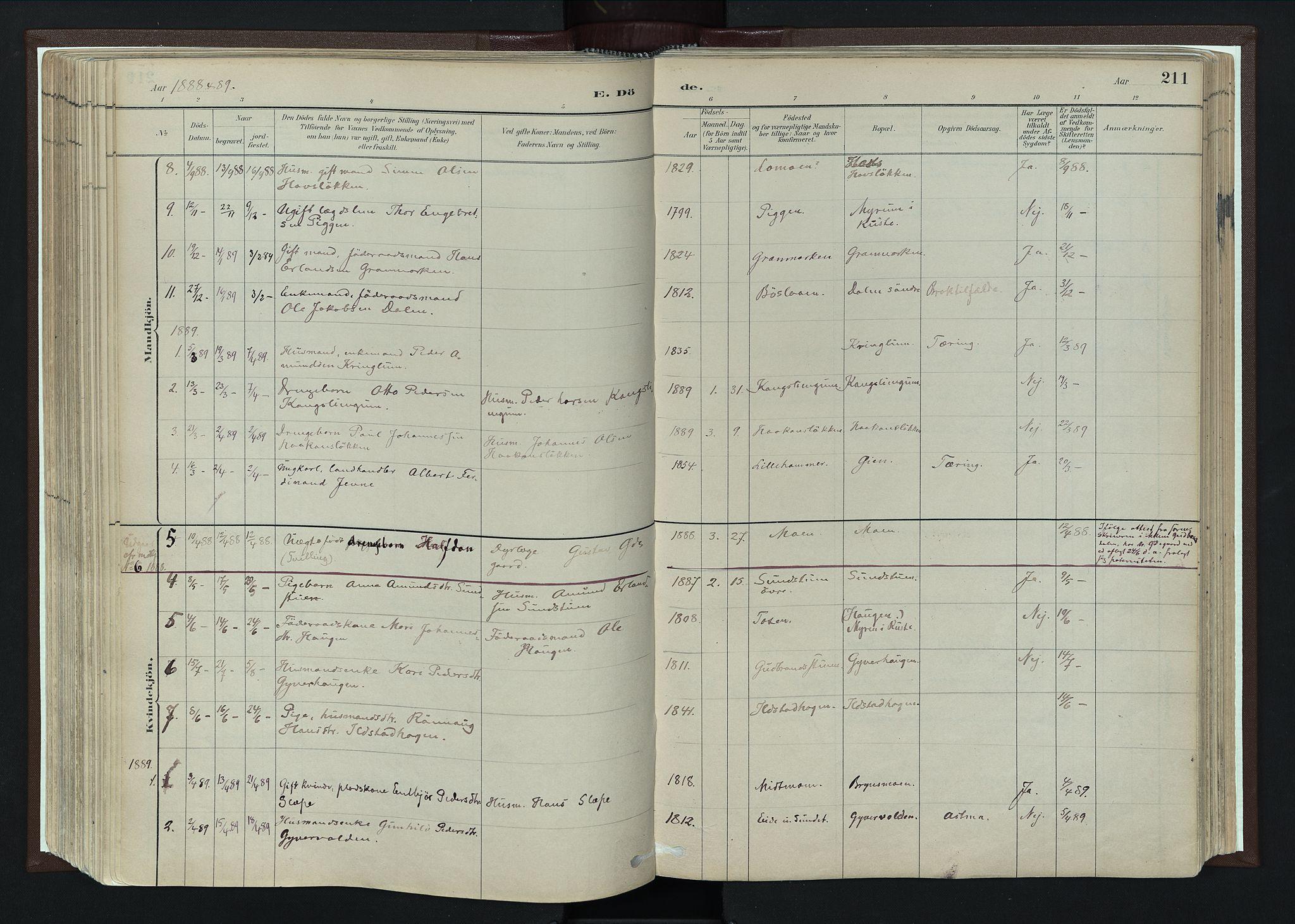 SAH, Nord-Fron prestekontor, Ministerialbok nr. 4, 1884-1914, s. 211