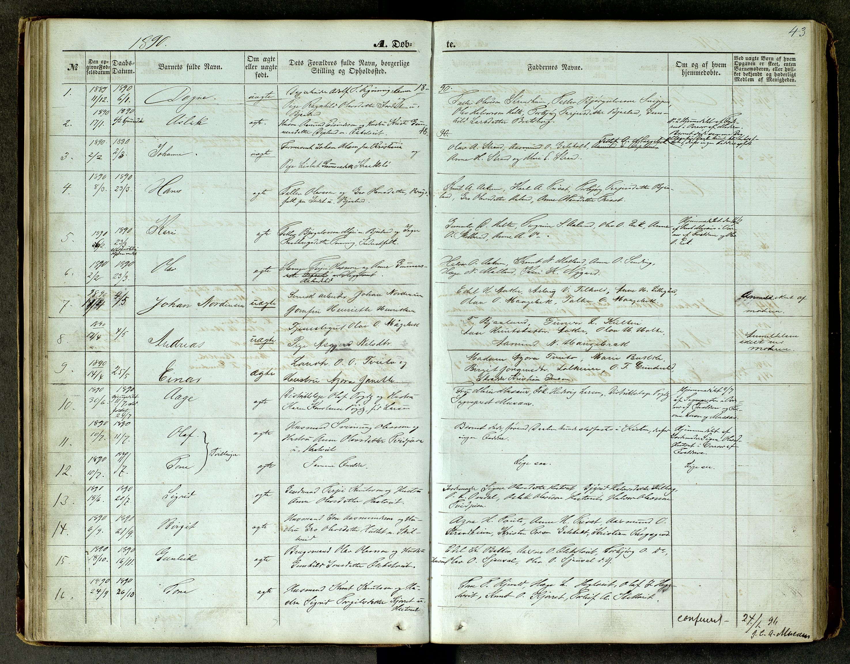SAKO, Lårdal kirkebøker, G/Ga/L0002: Klokkerbok nr. I 2, 1861-1890, s. 43
