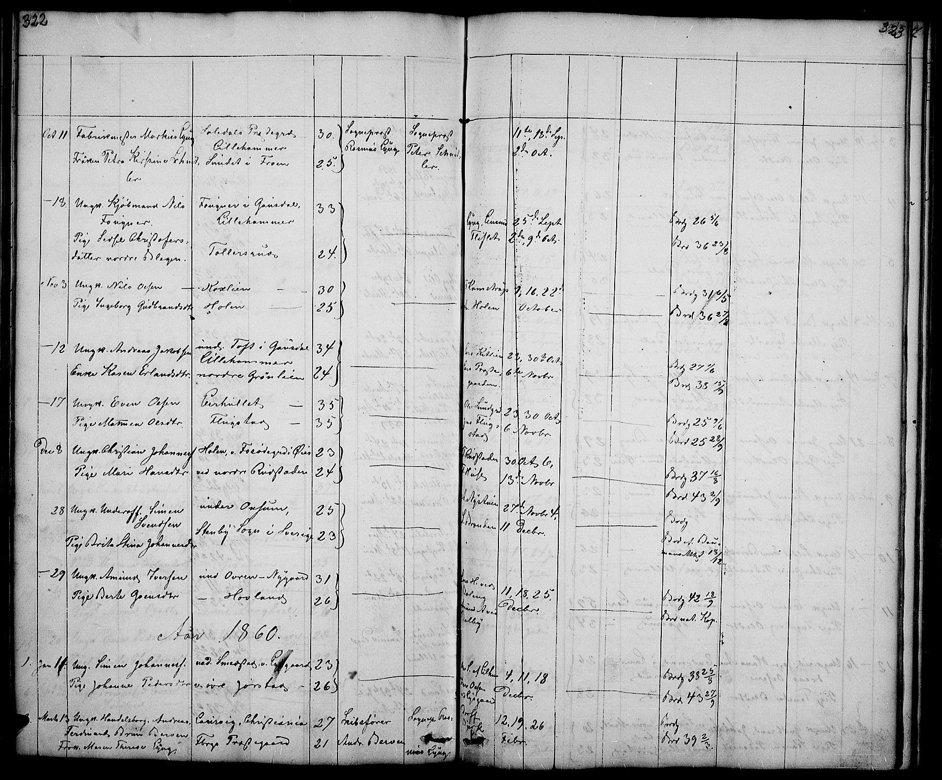SAH, Fåberg prestekontor, Klokkerbok nr. 5, 1837-1864, s. 322-323